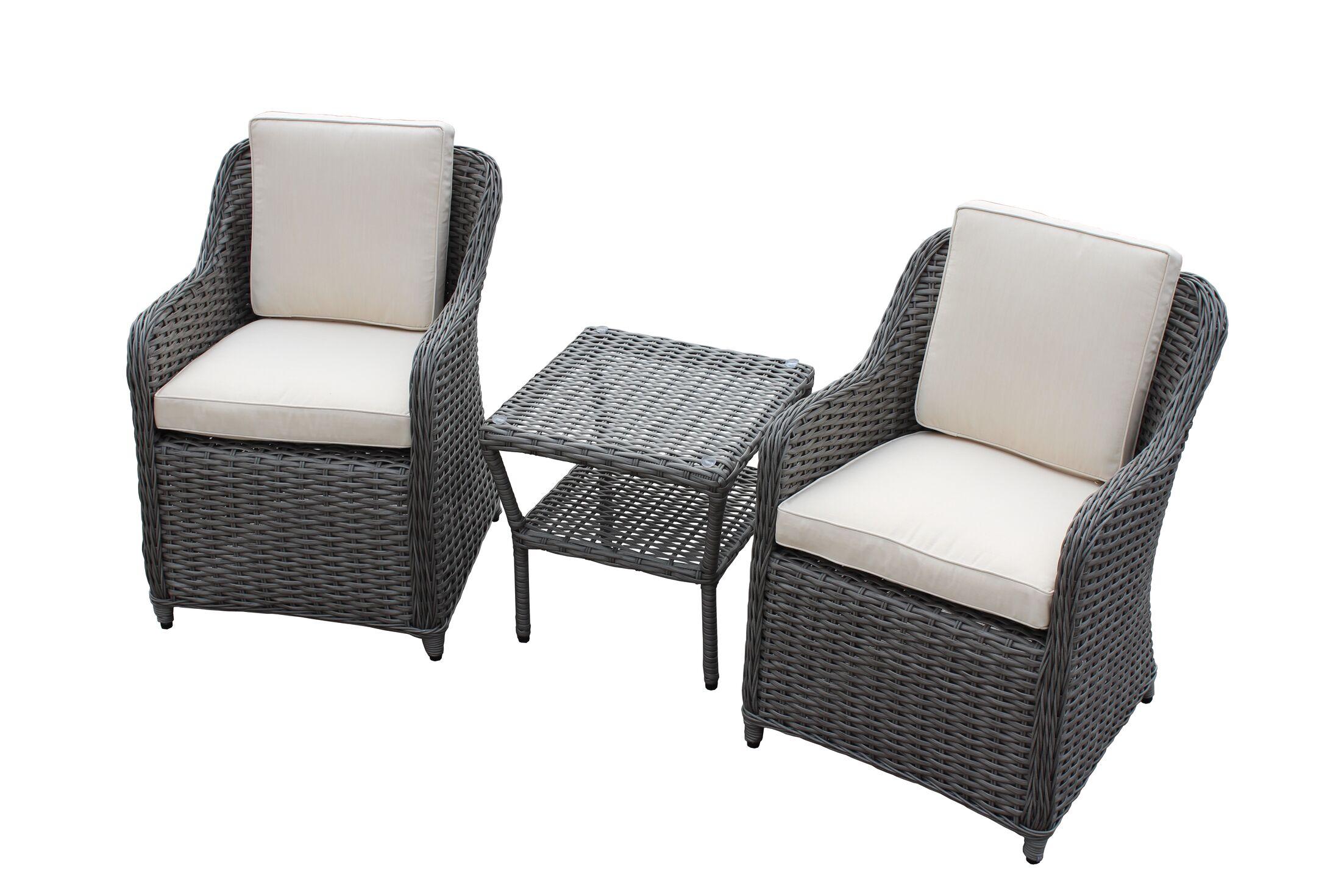 Dutil 3 Piece Rattan Sunbrella Conversation Set with Cushions