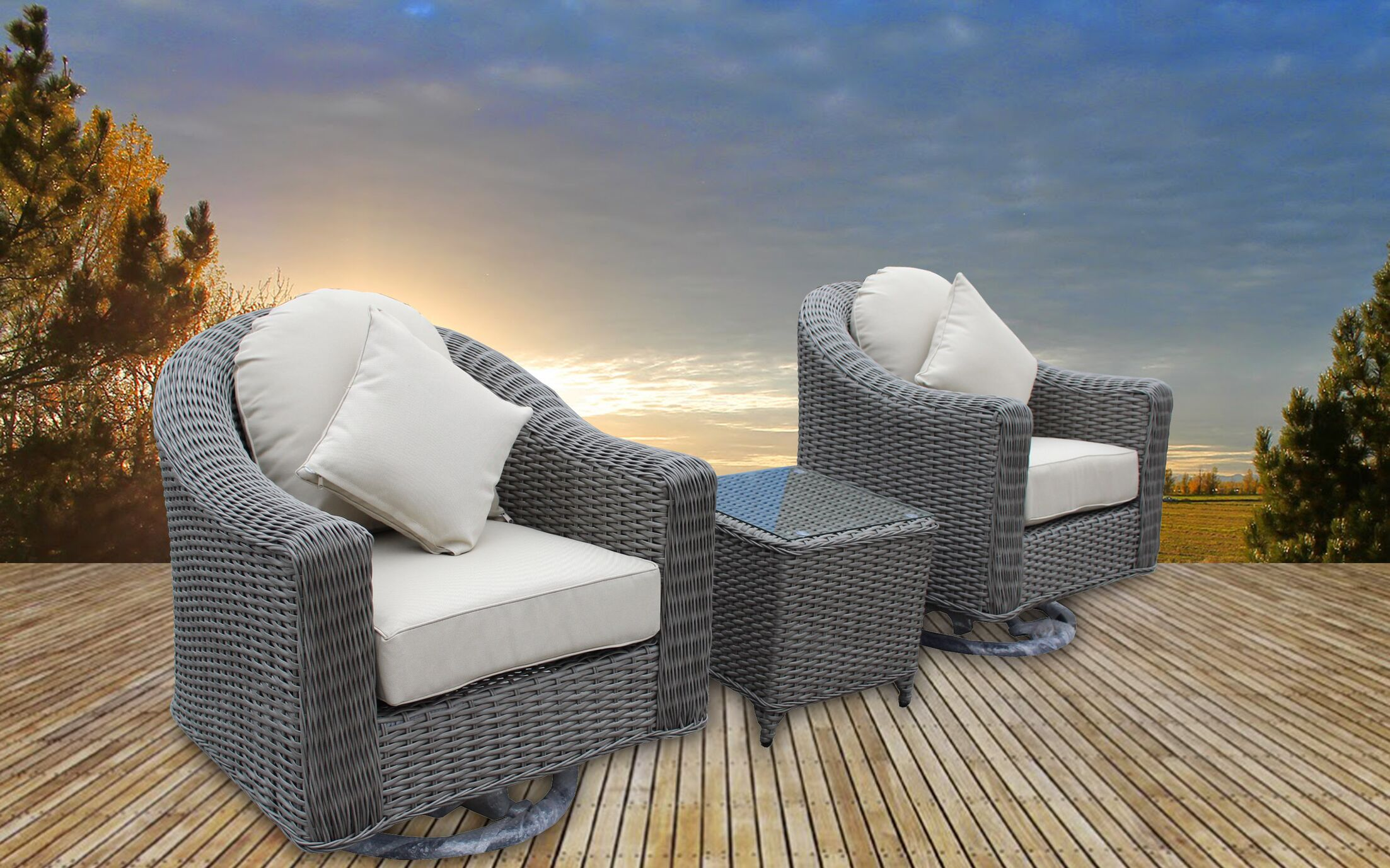 Geddes 3 Piece Sunbrella Conversation Set with Cushions Frame Color: Gray