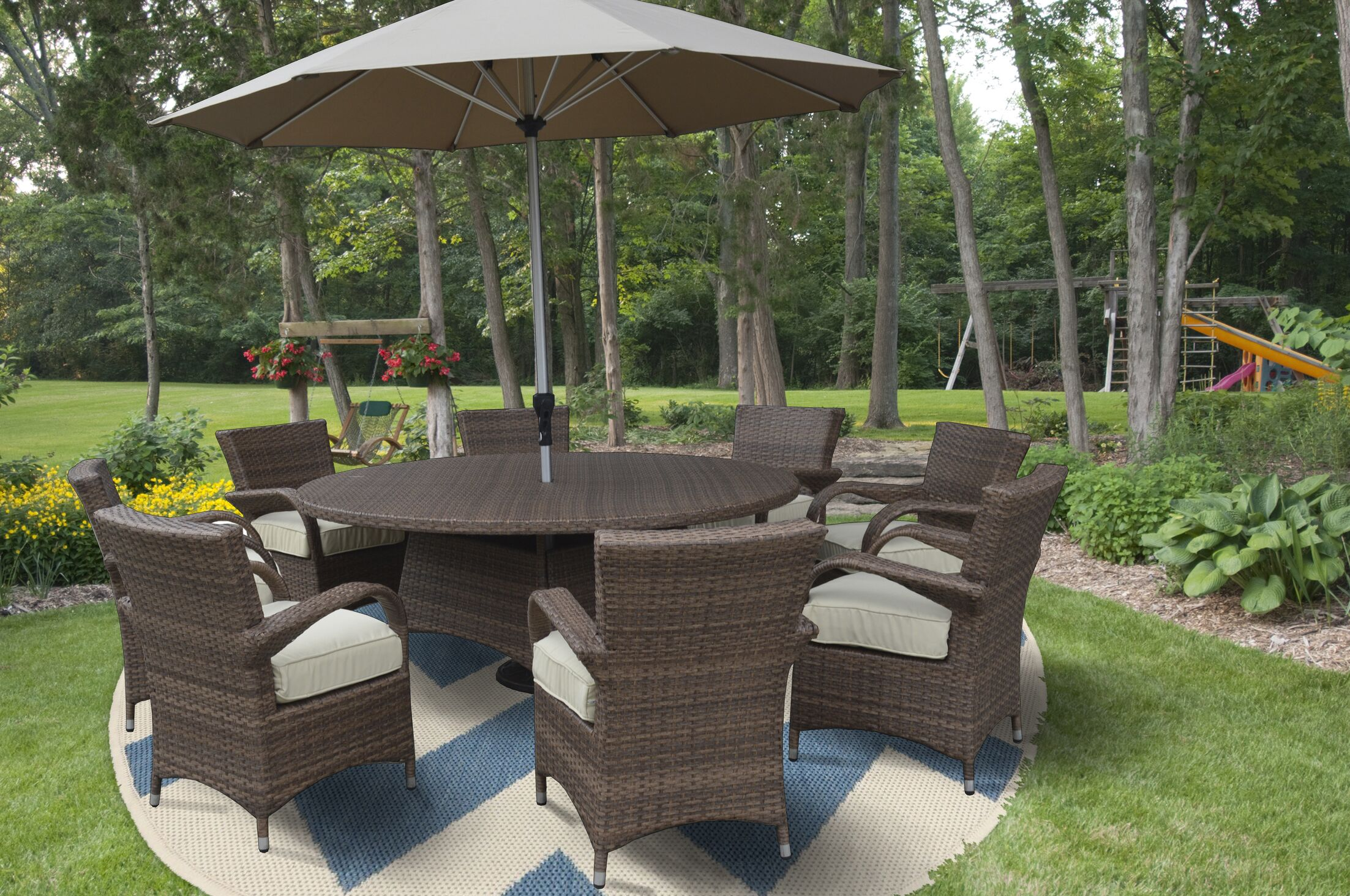 Fontinella Premium and Lush Complete 10 Piece Dining Set with Cushions/ with Umbrella