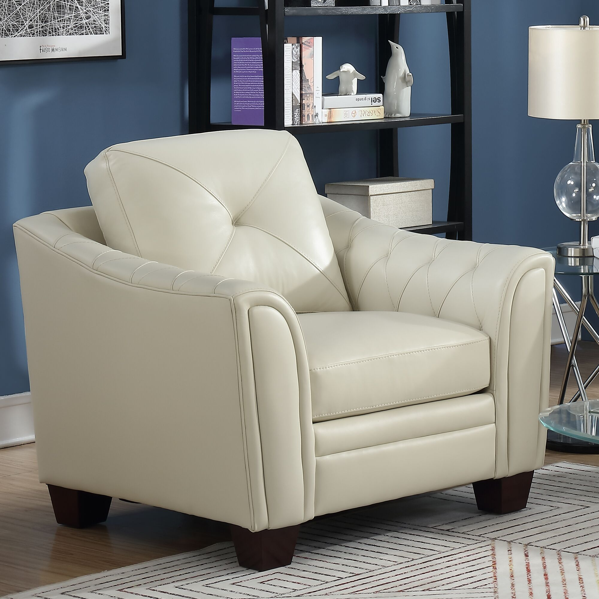 Chiang Club Chair Upholstery: Leather, Upholstery Color: Red