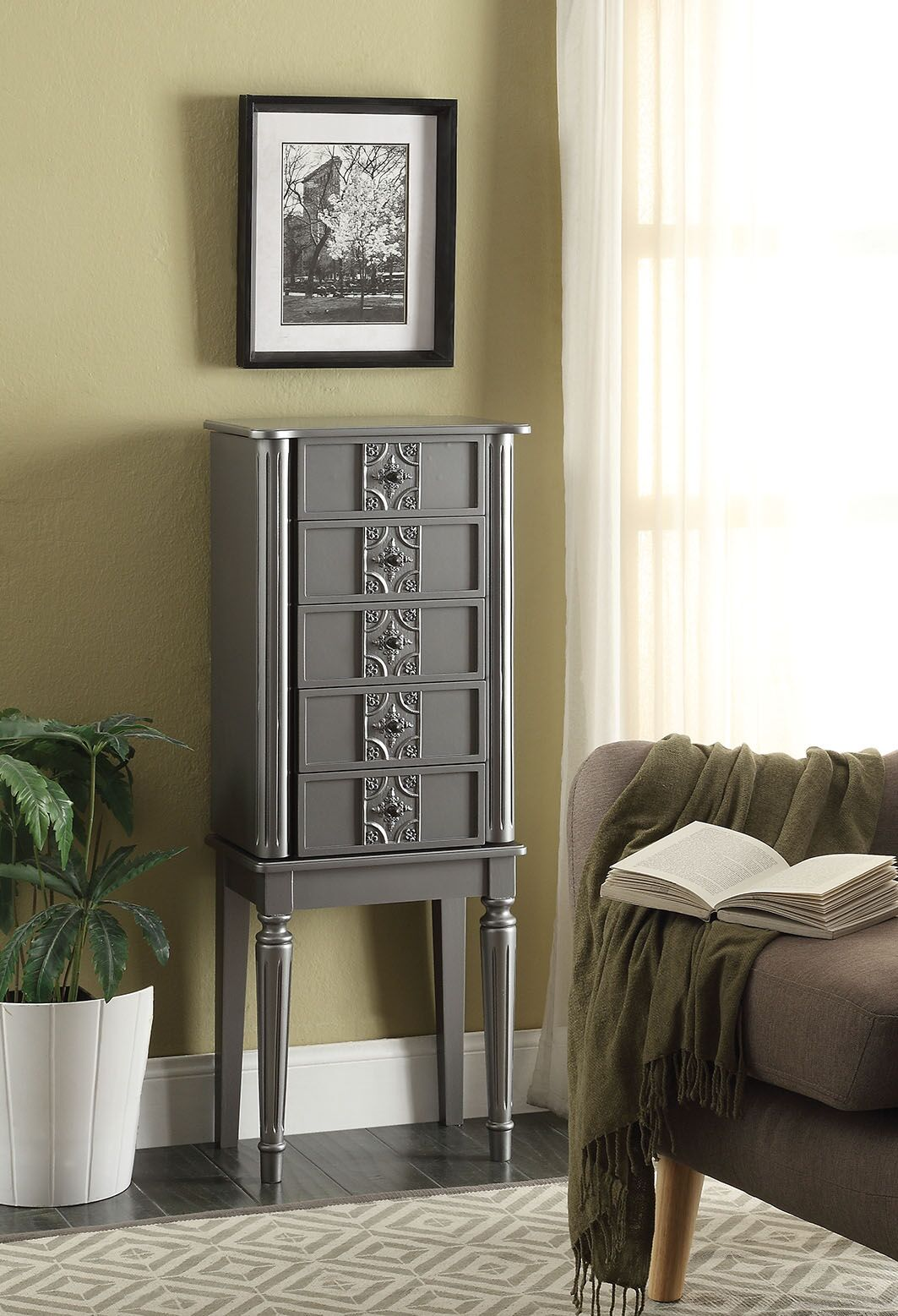 Tammy Free standing Jewelry Armoire with Mirror Color: Silver