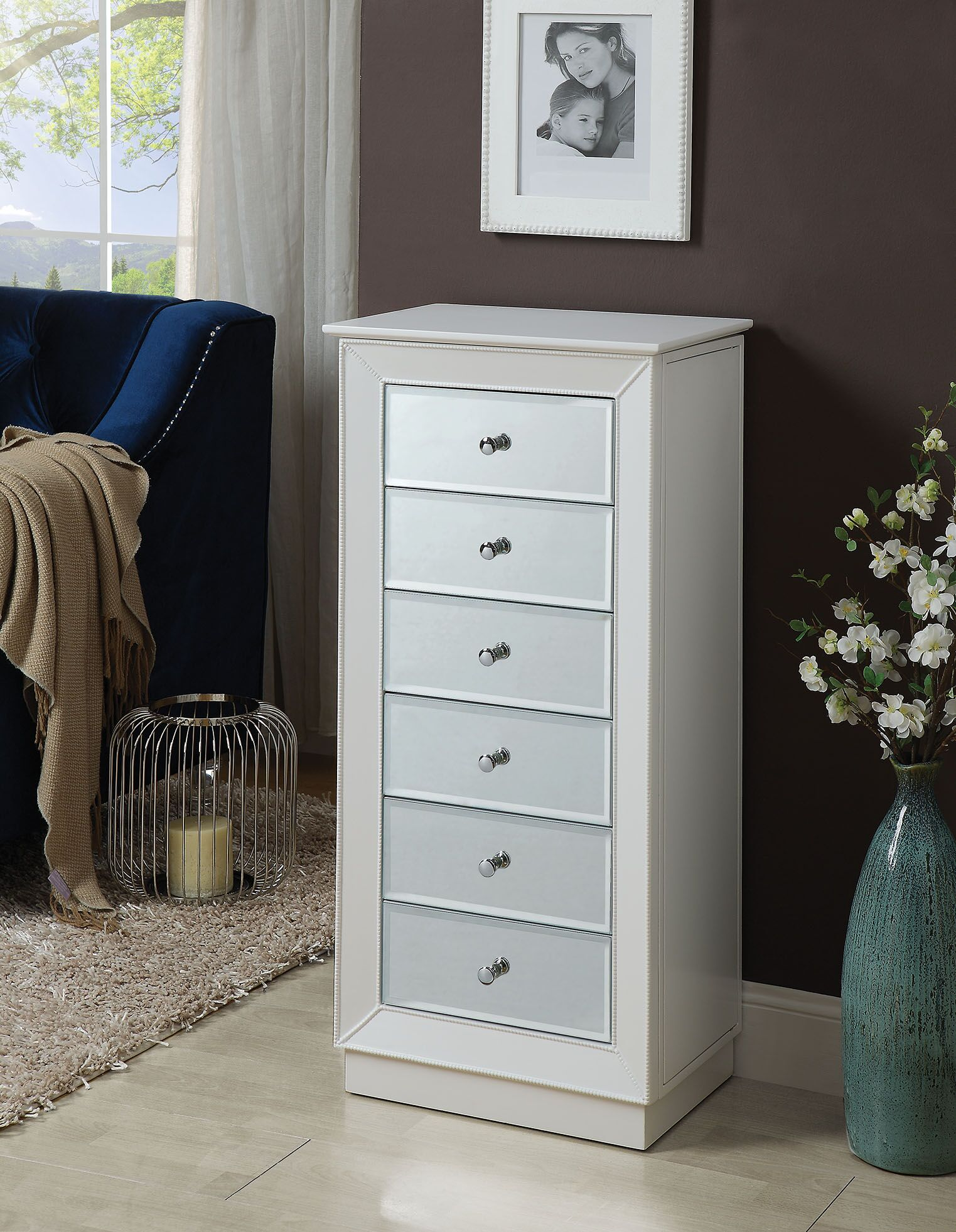Talor Free Standing Jewelry Armoire with Mirror Color: White
