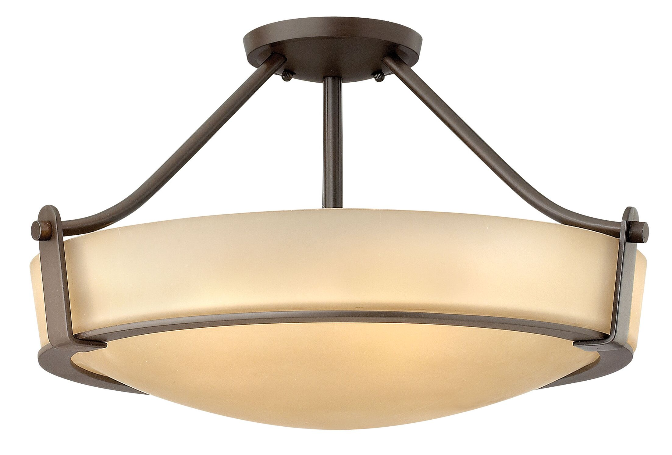 Hathaway 3-Light LED Semi Flush Mount Finish: Olde Bronze, Size: 12.3