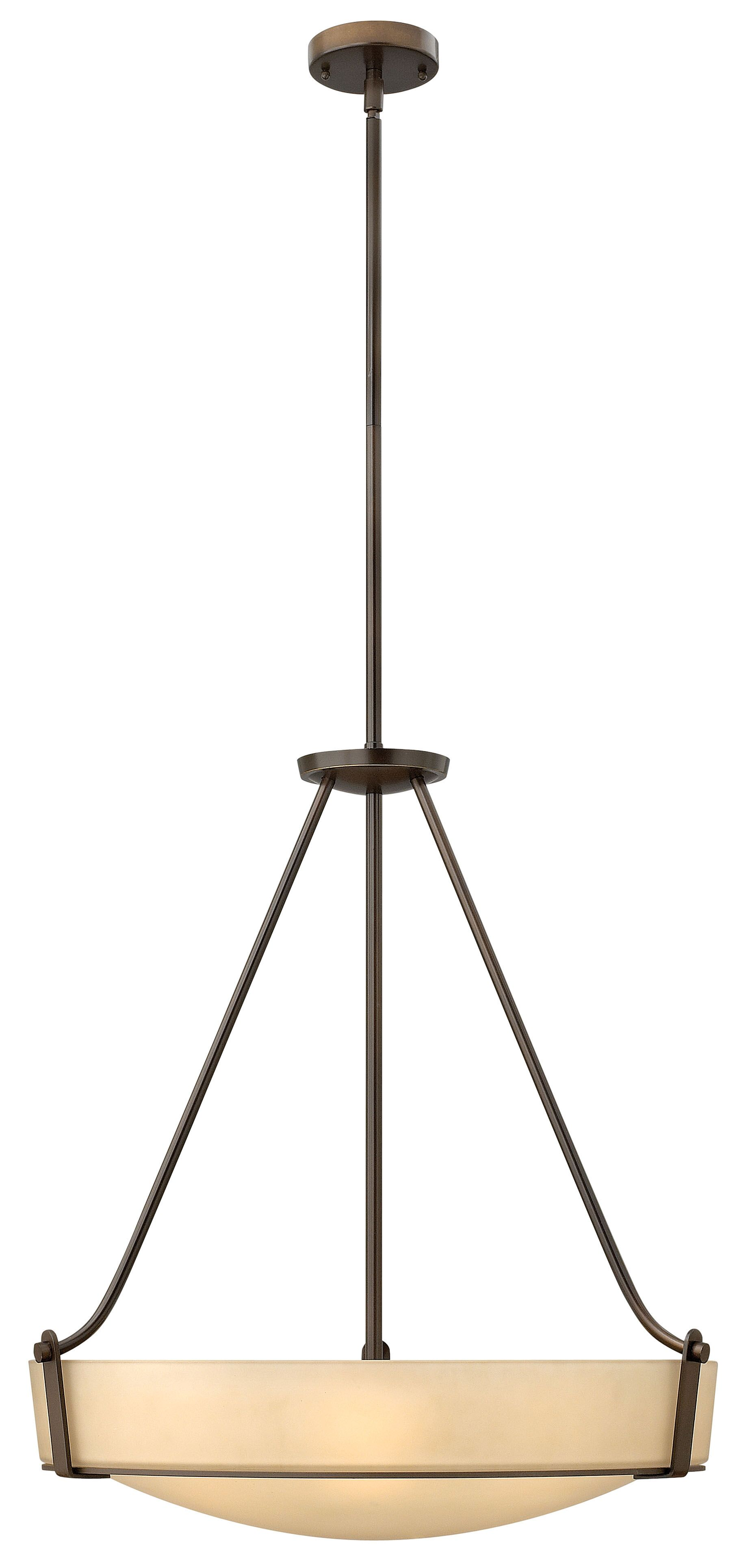 Hathaway 5-Light Bowl Pendant Shade Color: White, Finish: Olde Bronze, Bulb Type: 100W Medium