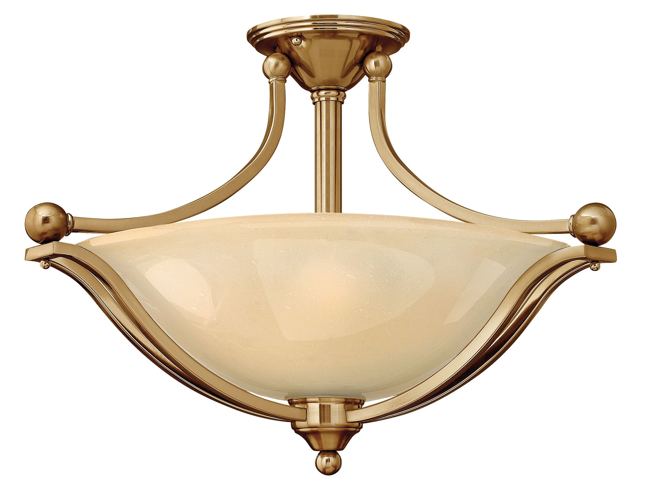 Bolla 3-Light Semi Flush Mount Finish: Brushed Bronze, Bulb Type: Incandescent, Shade Color: Light Amber Seedy Glass
