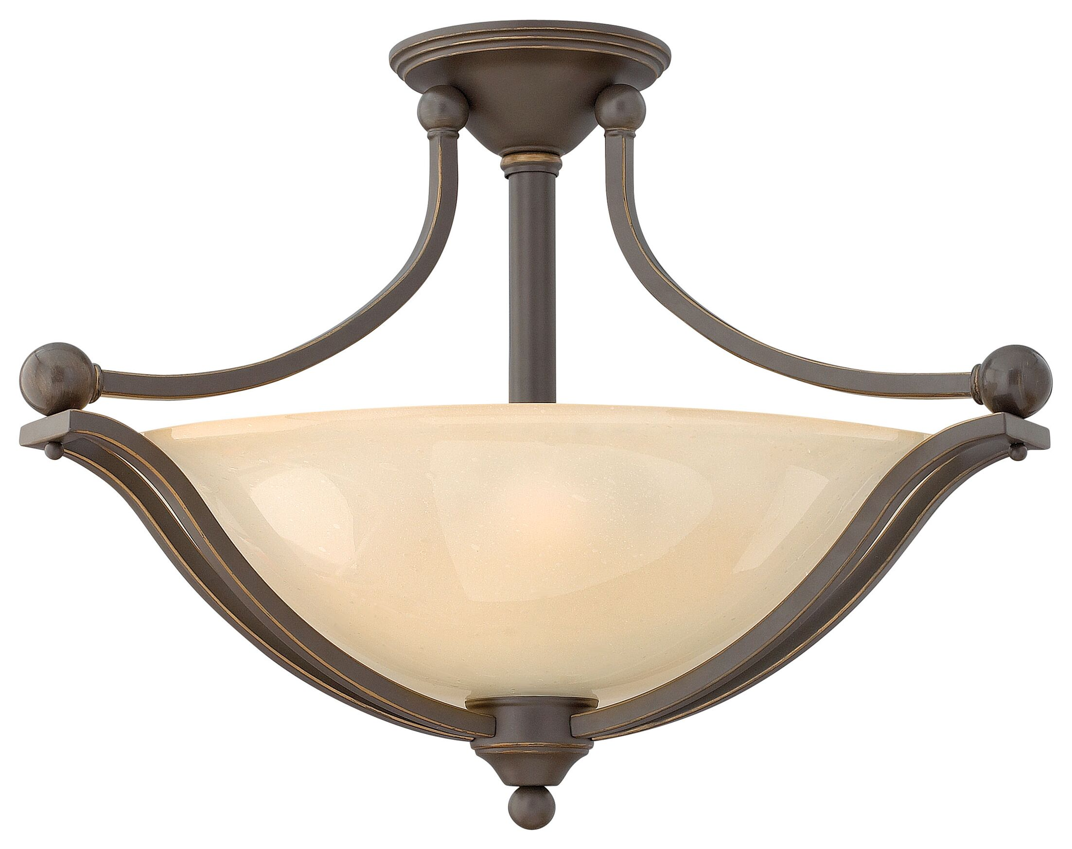 Bolla 3-Light Semi Flush Mount Finish: Olde Bronze, Bulb Type: Incandescent, Shade Color: Etched Opal Glass