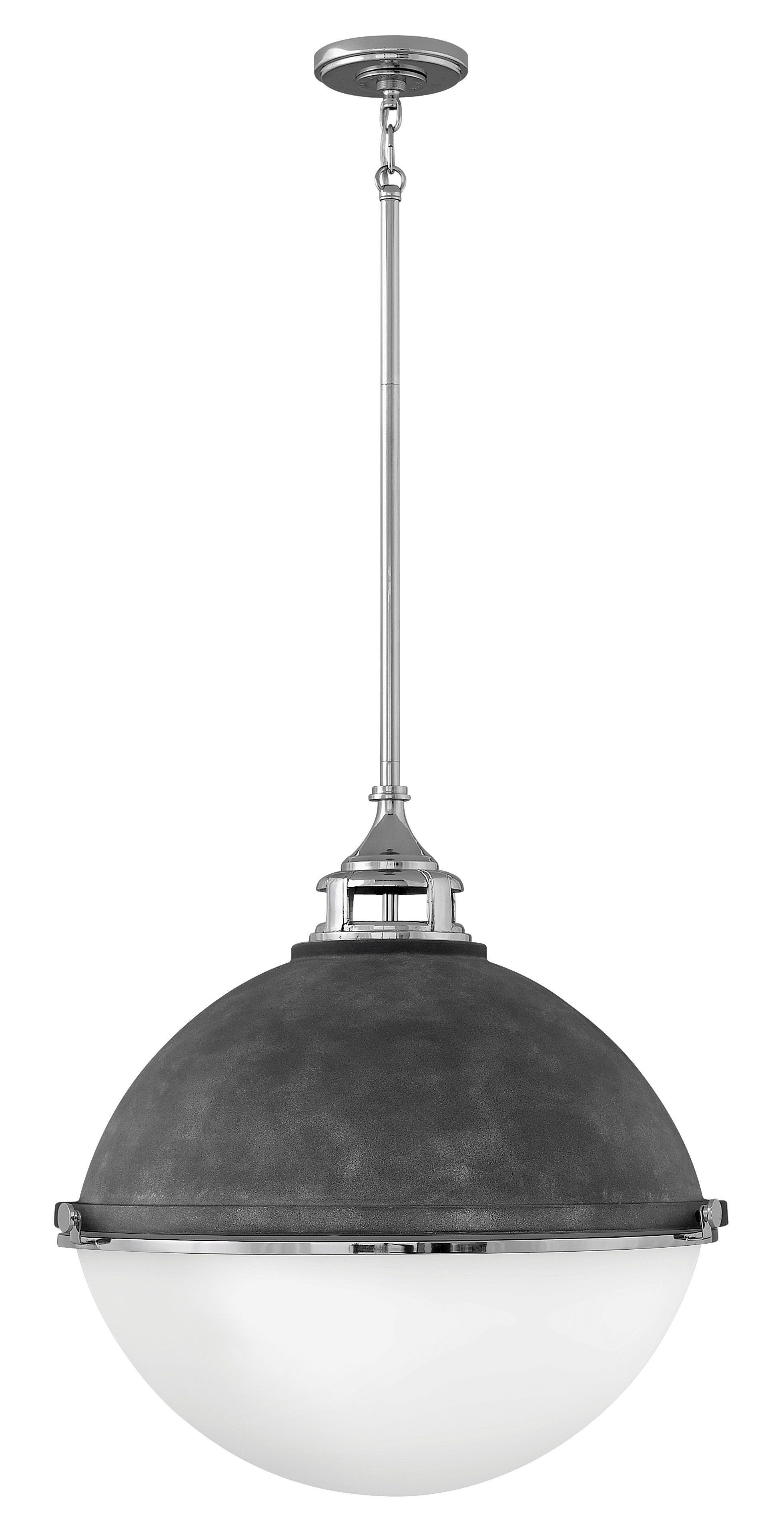 Fletcher 3-Light Globe Pendant Finish: Aged ZincPolished Nickel
