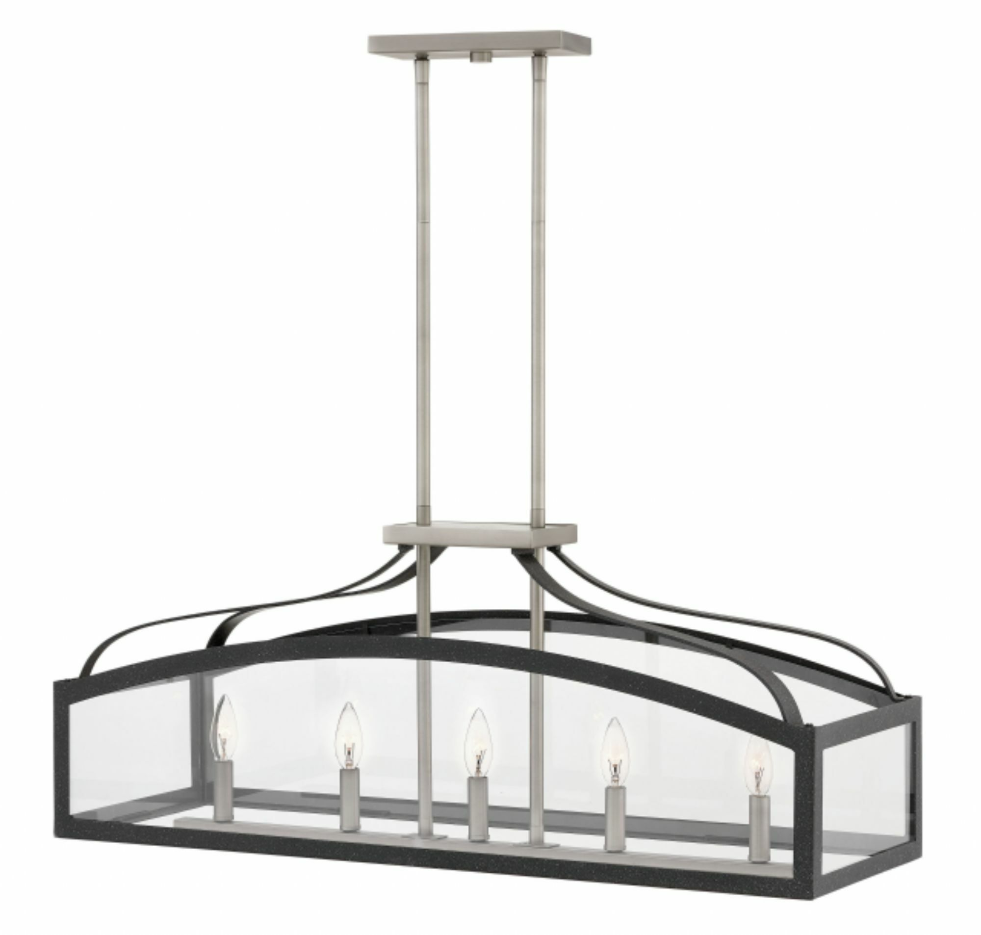 Clarendon Linear 5-Light Kitchen Island Pendant Finish: Aged Zinc, Size: 36
