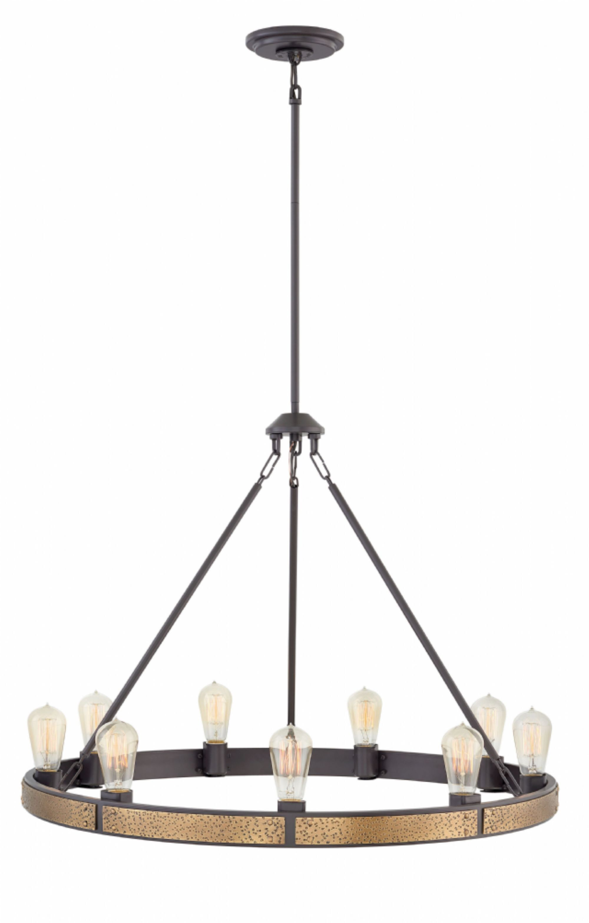 Everett Single Tier 9-Light Candle-Style Chandelier Finish: Bronze