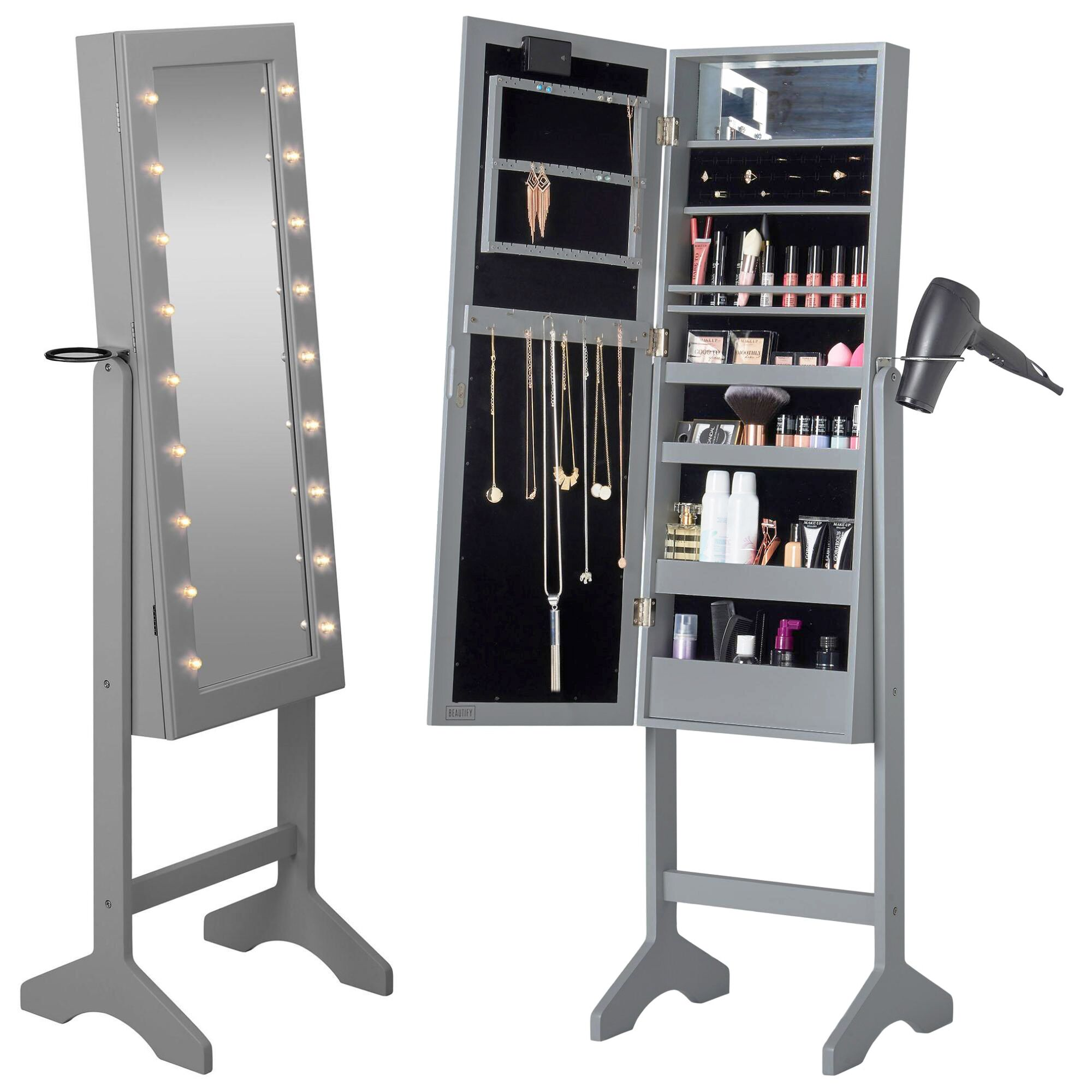 Revere Jewelry Armoire with Mirror Color: Gray