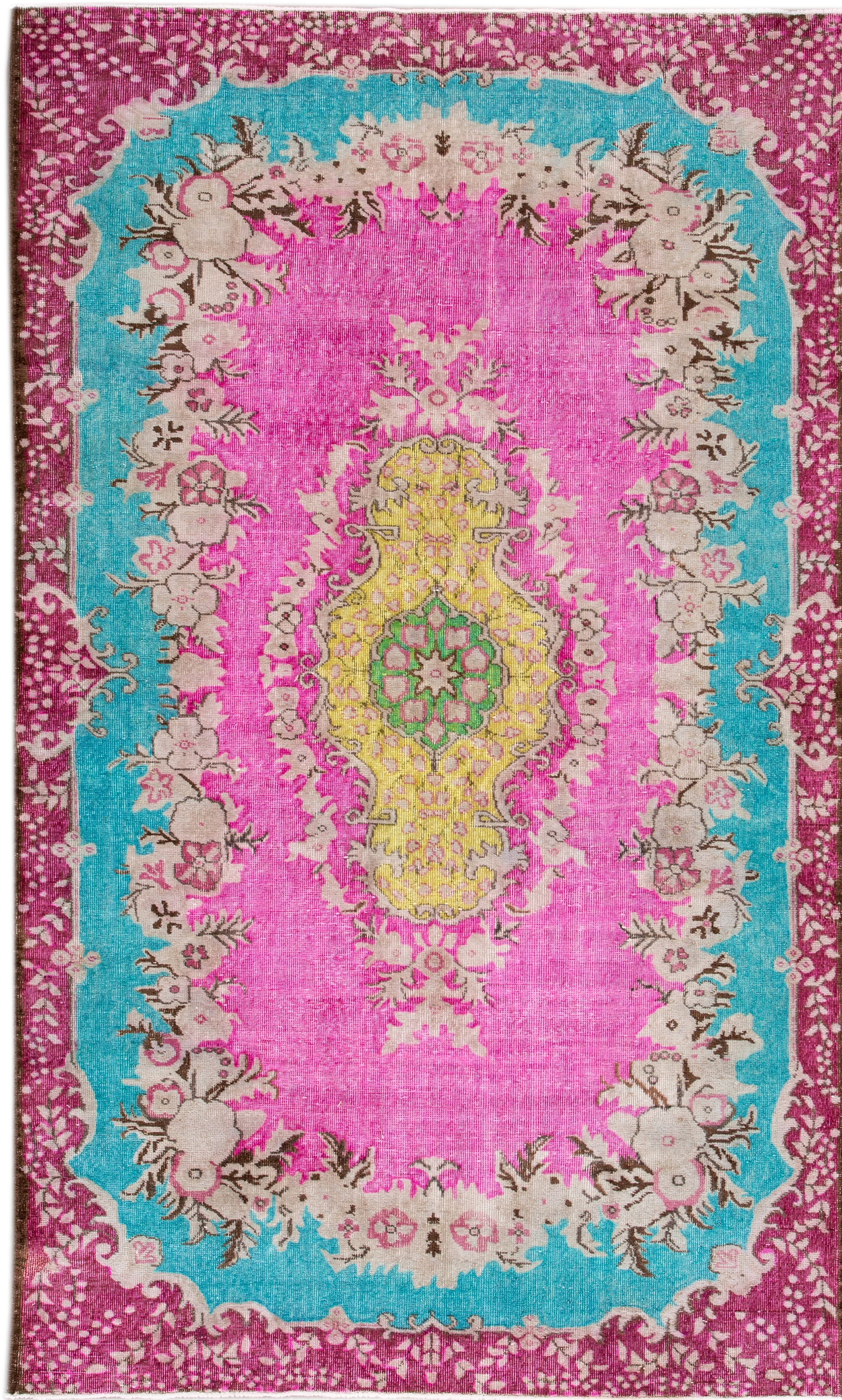 Revival Hand-Knotted Green/Pink/Yellow Area Rug