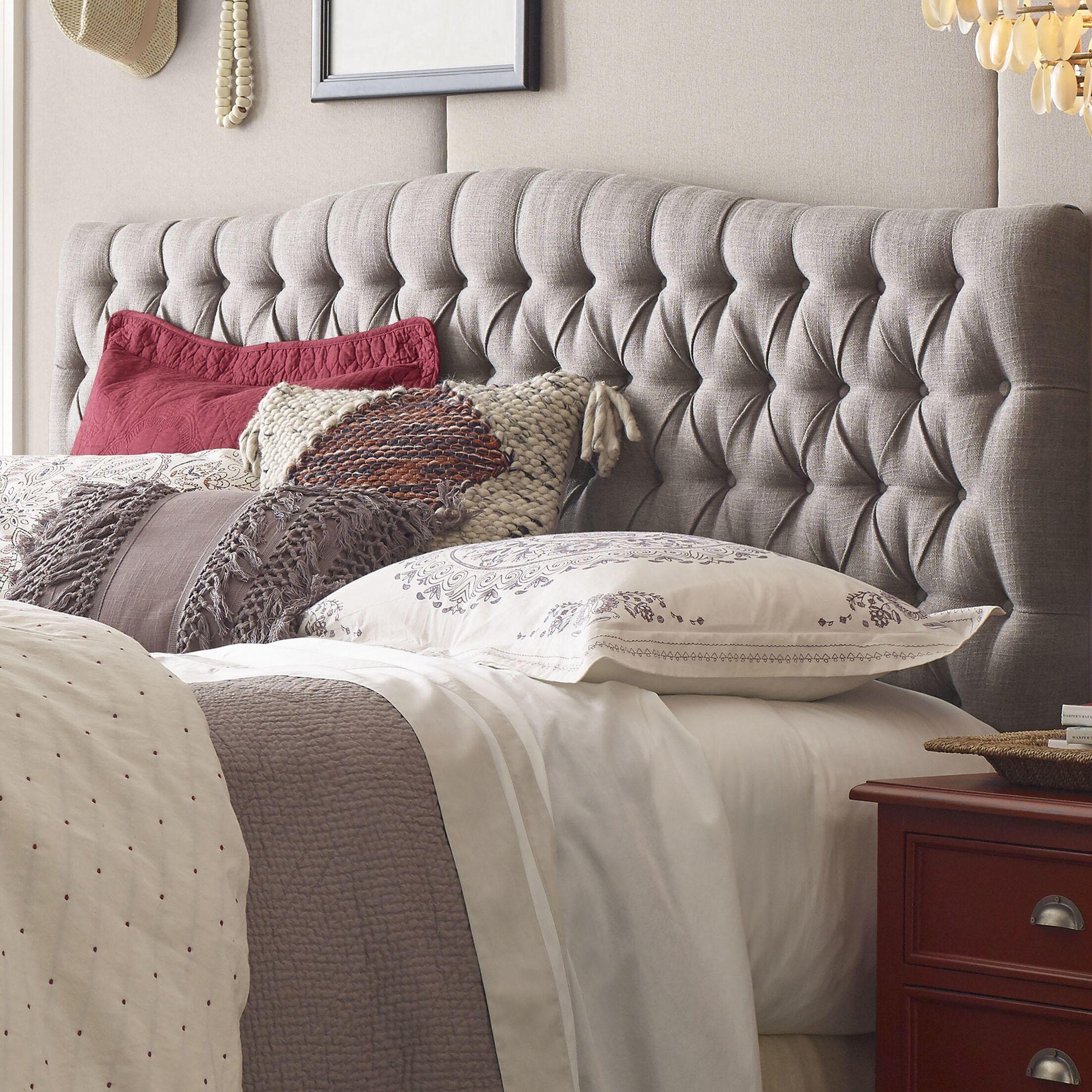 Celeste Upholstered Panel Headboard Upholstery: Brown, Size: King