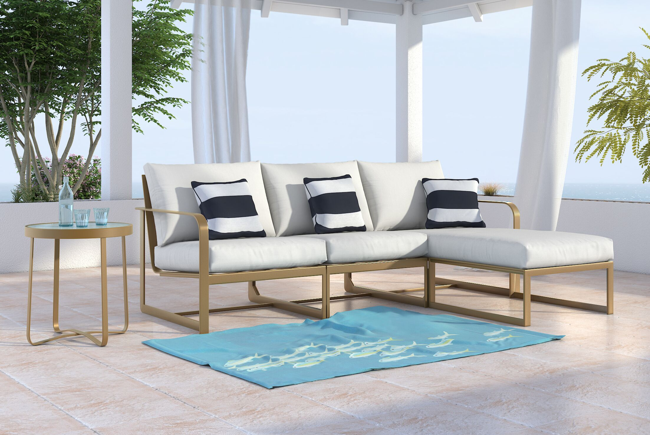 Mirabelle Patio Sectional with Cushions Finish: Gold