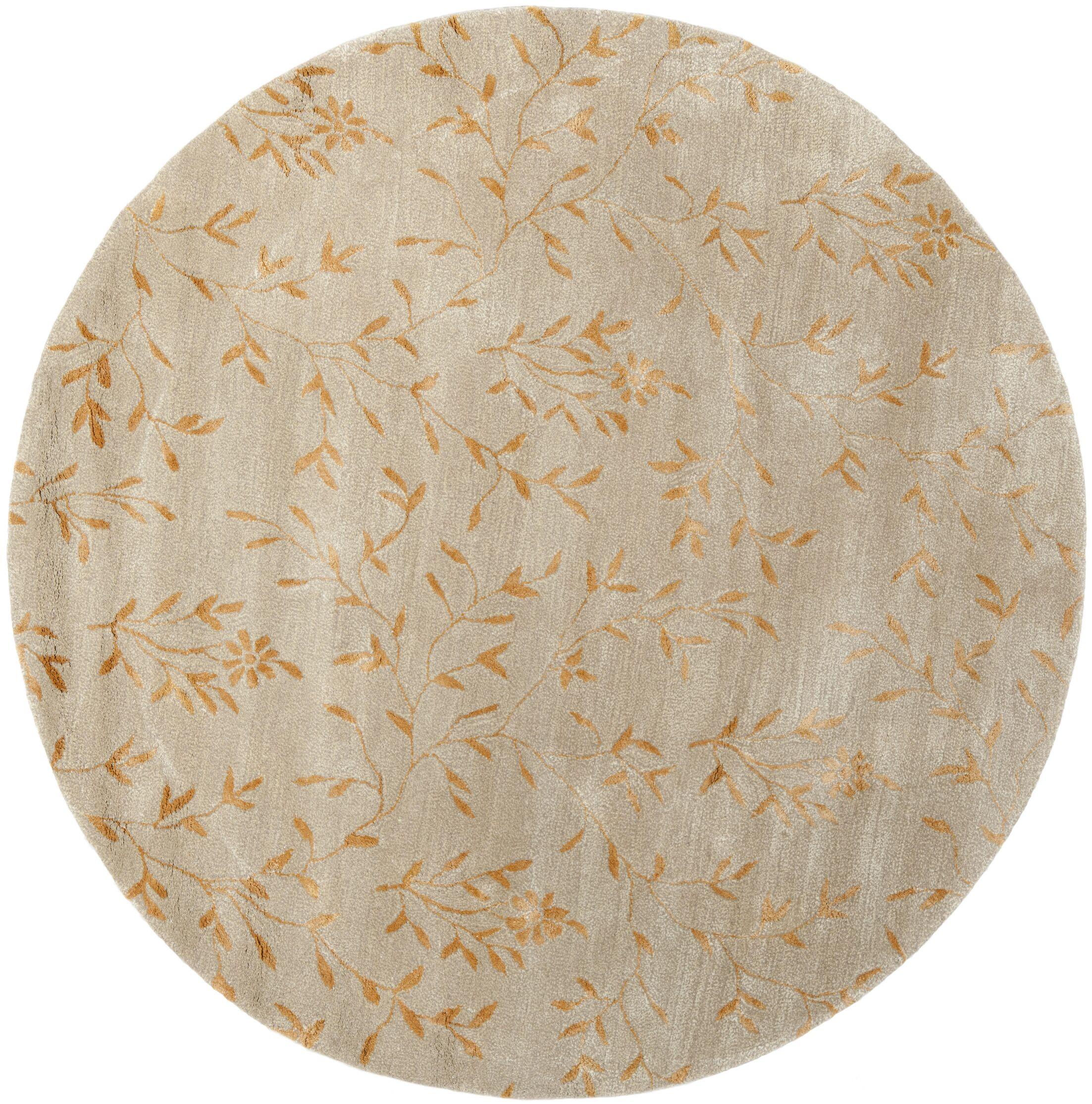 Alvan Hand-Tufted Beige/Orange Area Rug Rug Size: Round 6'