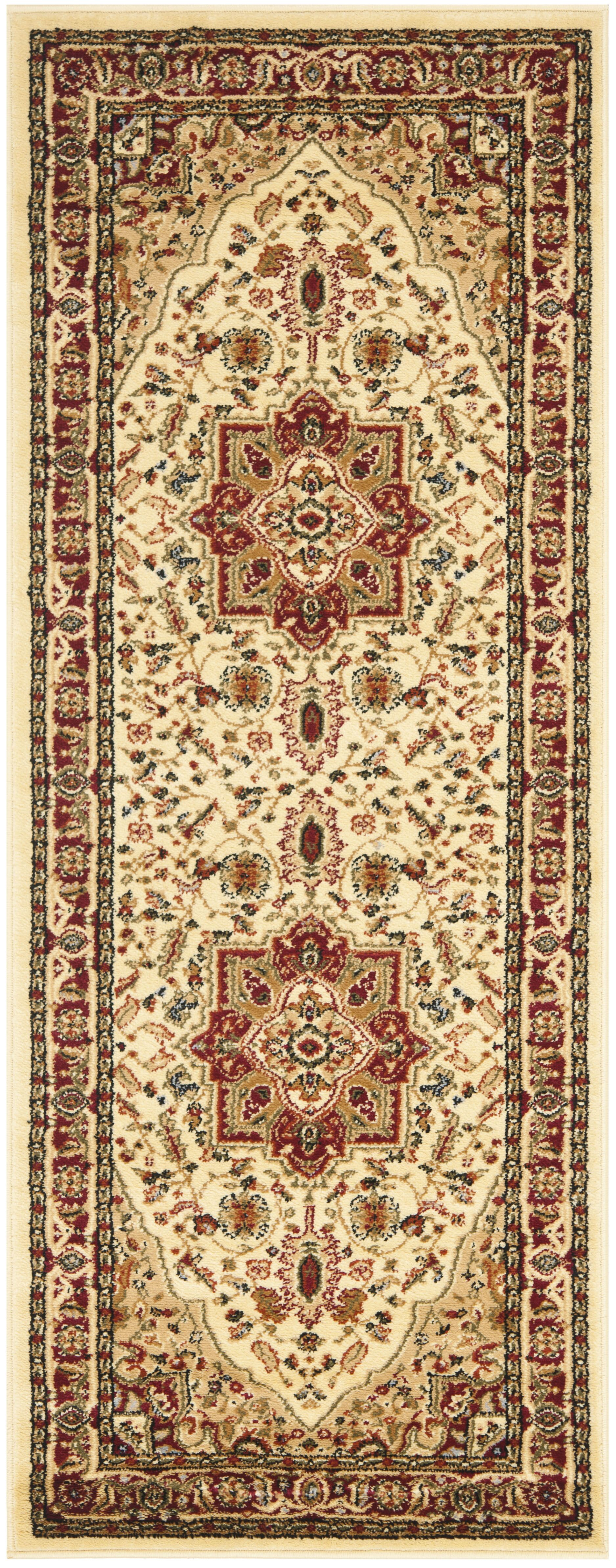 Theresa Ivory/Red Area Rug Rug Size: Runner 2'3