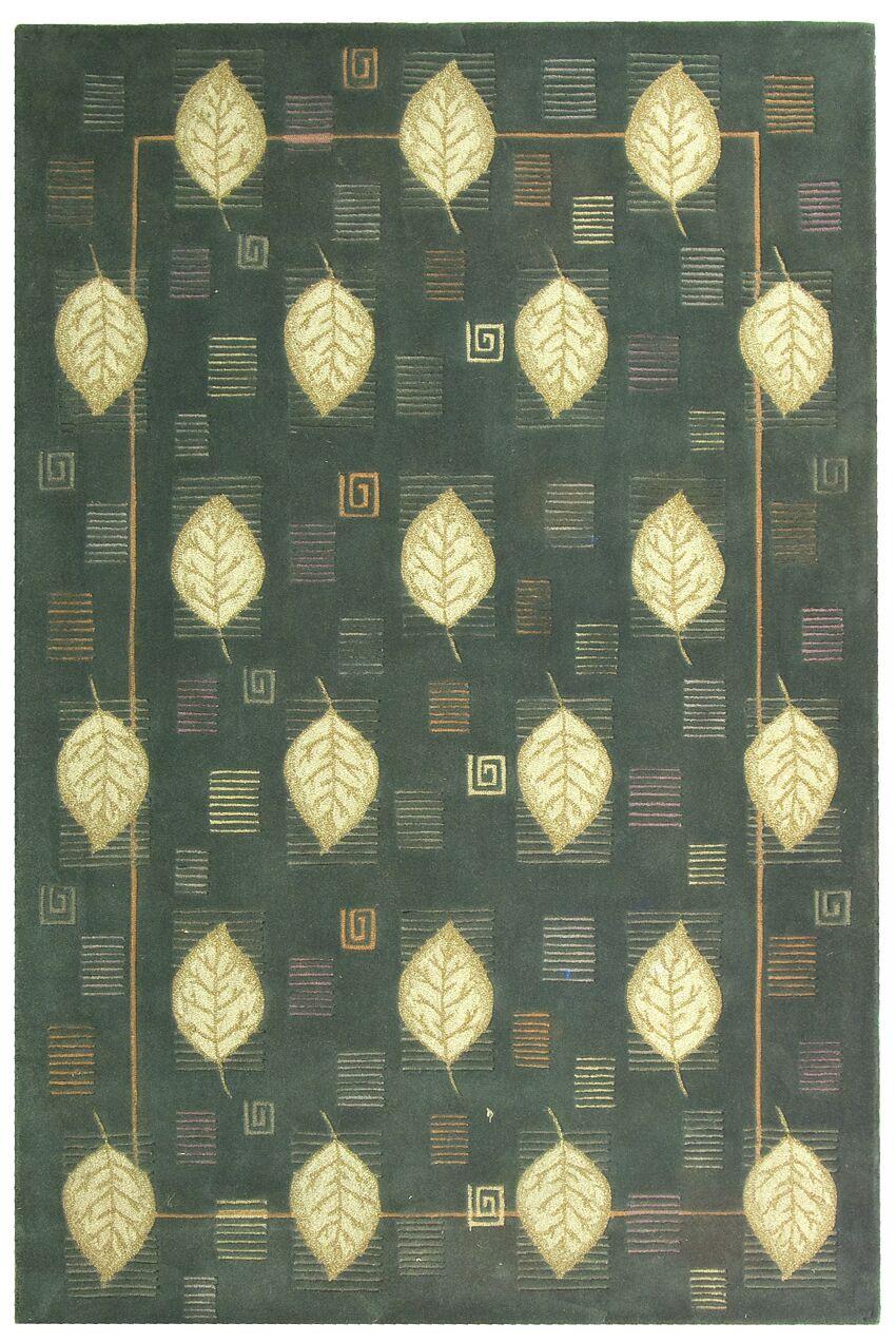 Berkeley Blue Leaves Area Rug Rug Size: Rectangle 3'9