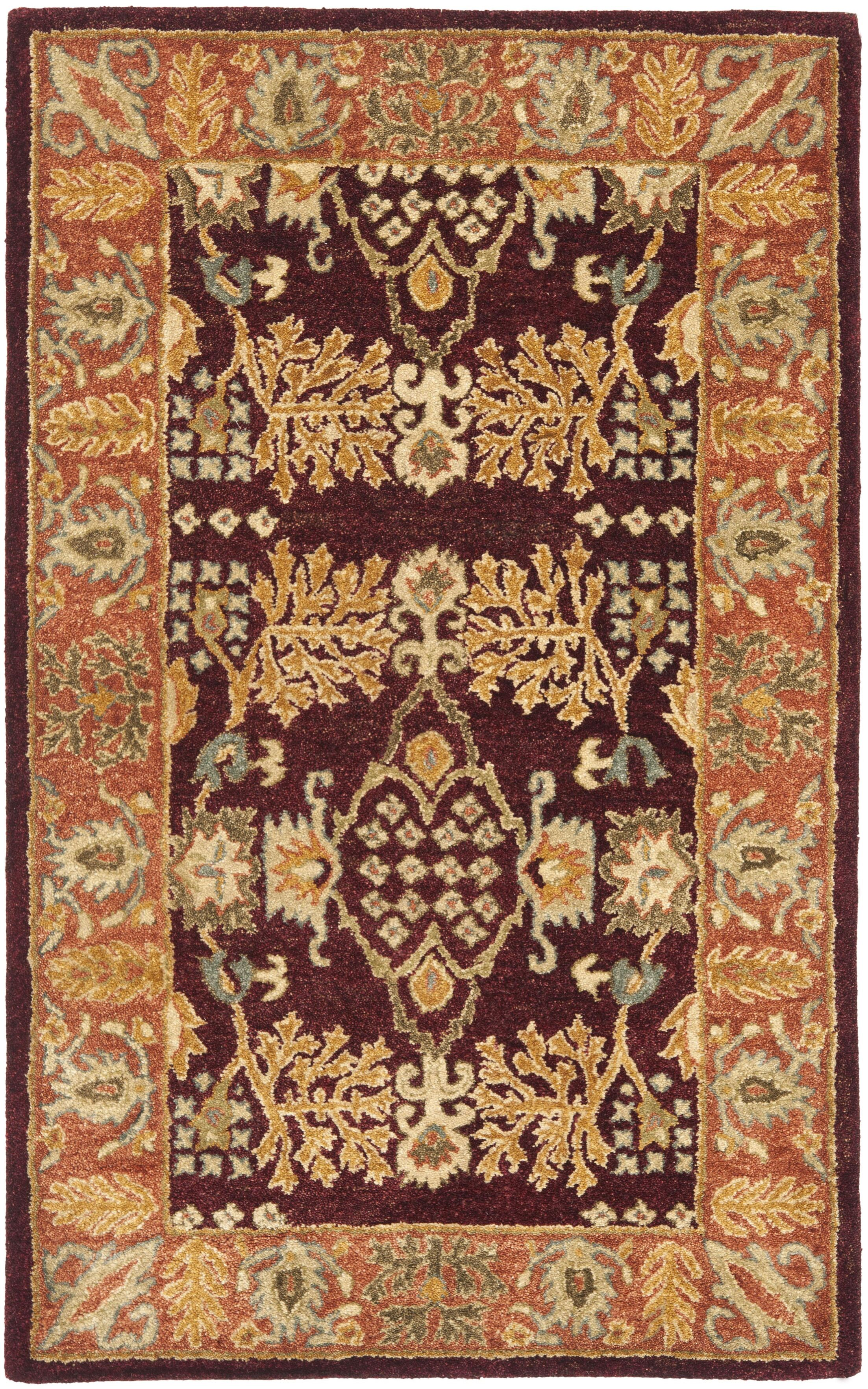 Bergama Red/Rust Area Rug Rug Size: Rectangle 3' x 5'
