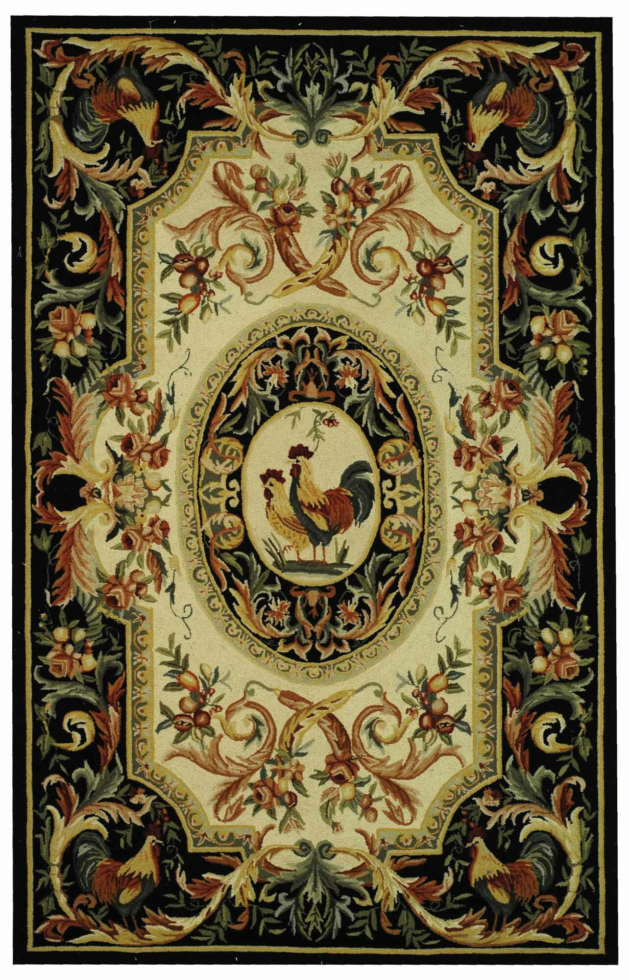 Kinchen Ivory/Black Novelty Area Rug Rug Size: Rectangle 2'6