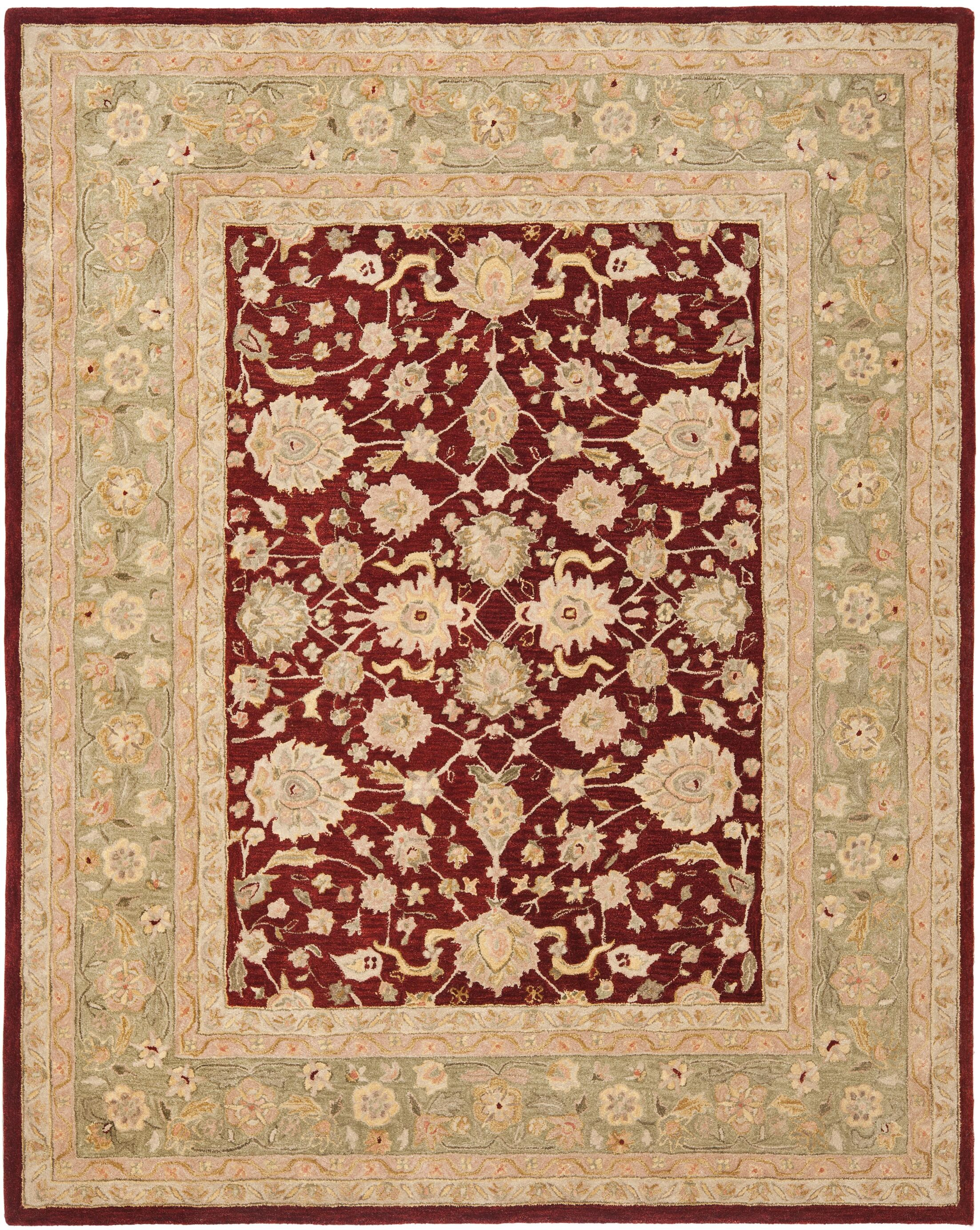Pritchard Red/Moss Area Rug Rug Size: Rectangle 9' x 12'