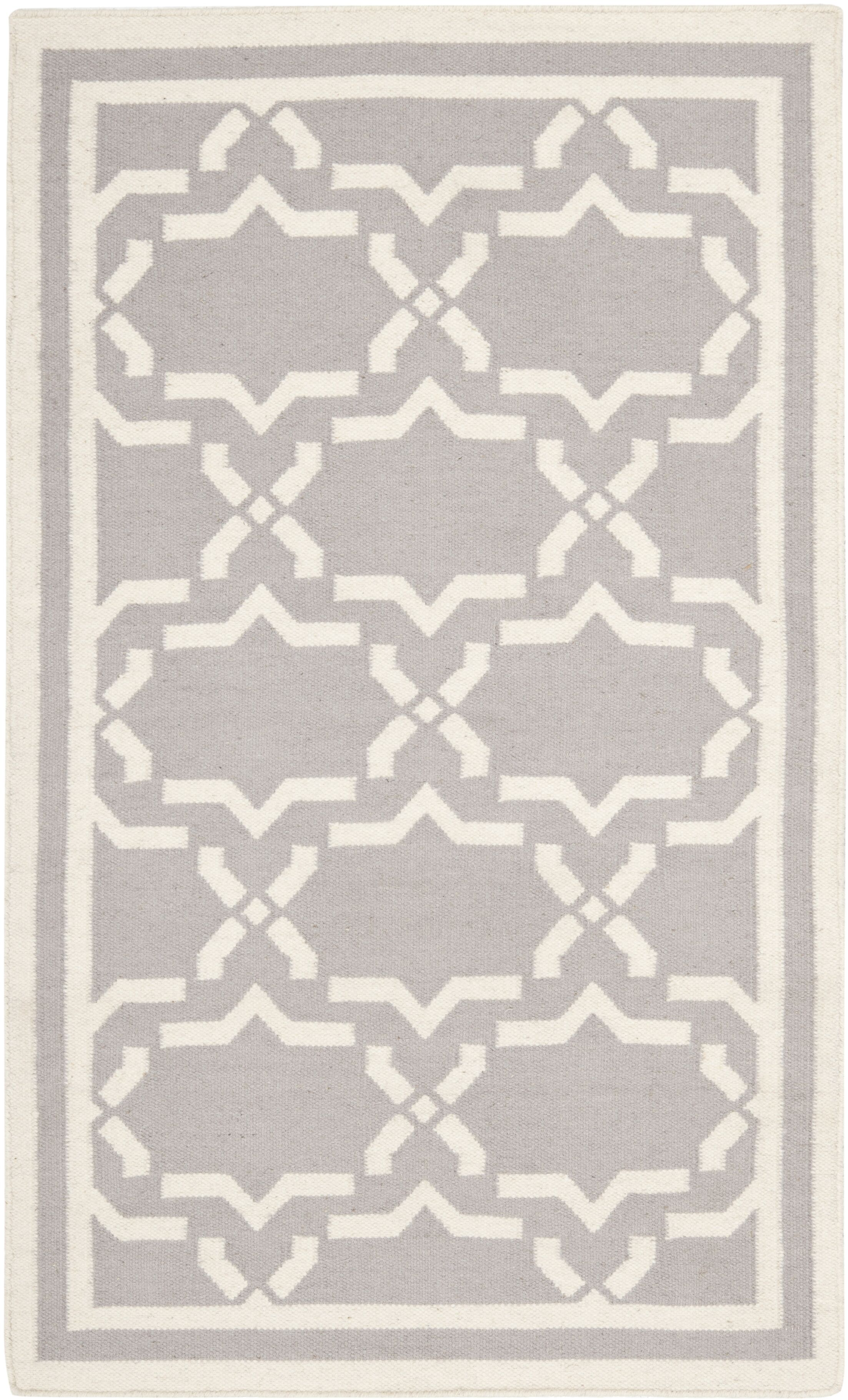 Dhurries Hand-Woven Wool Purple/Ivory Area Rug Rug Size: Rectangle 8' x 10'