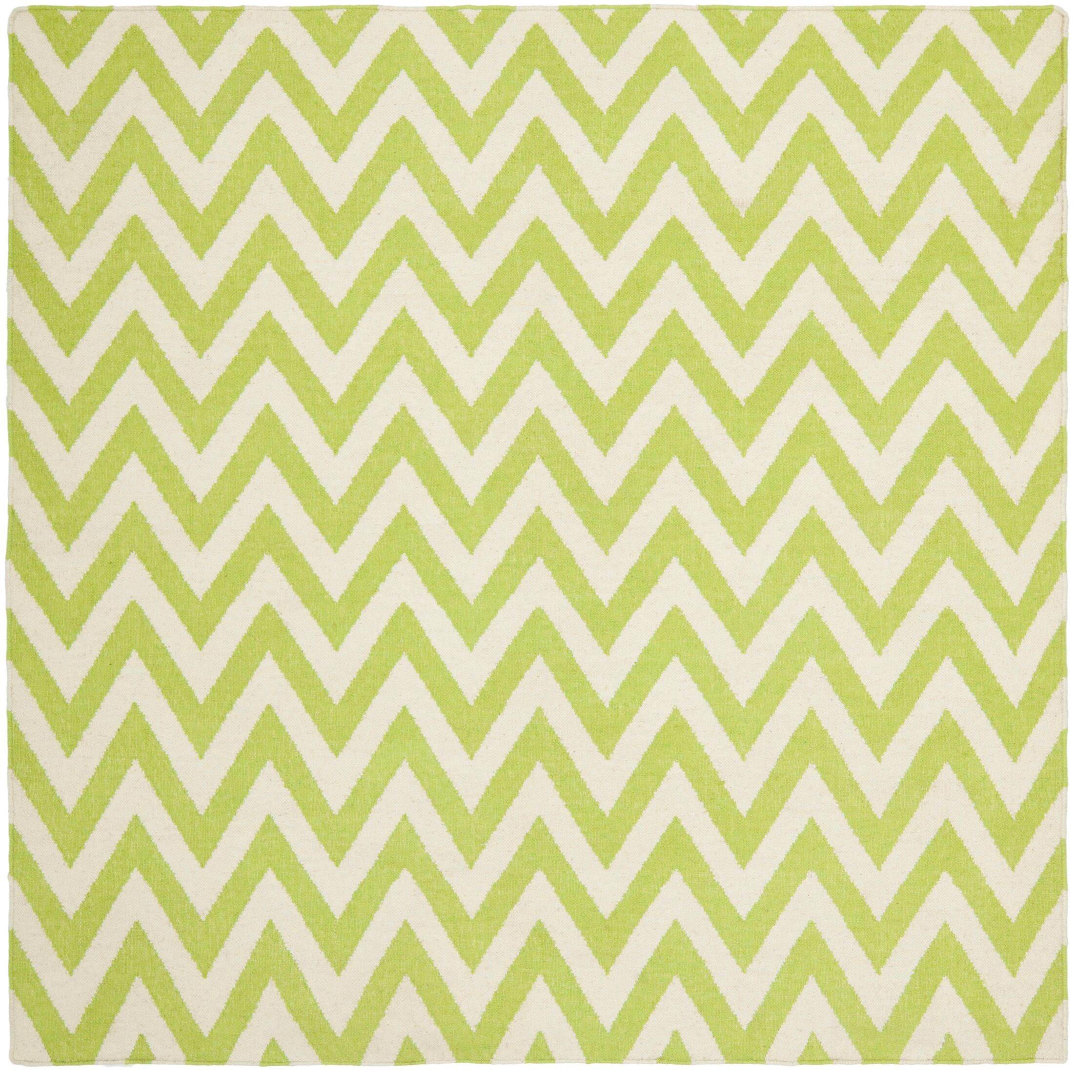 Moves Like Zigzagger Hand-Woven Wool Green/Ivory Area Rug Rug Size: Square 6'