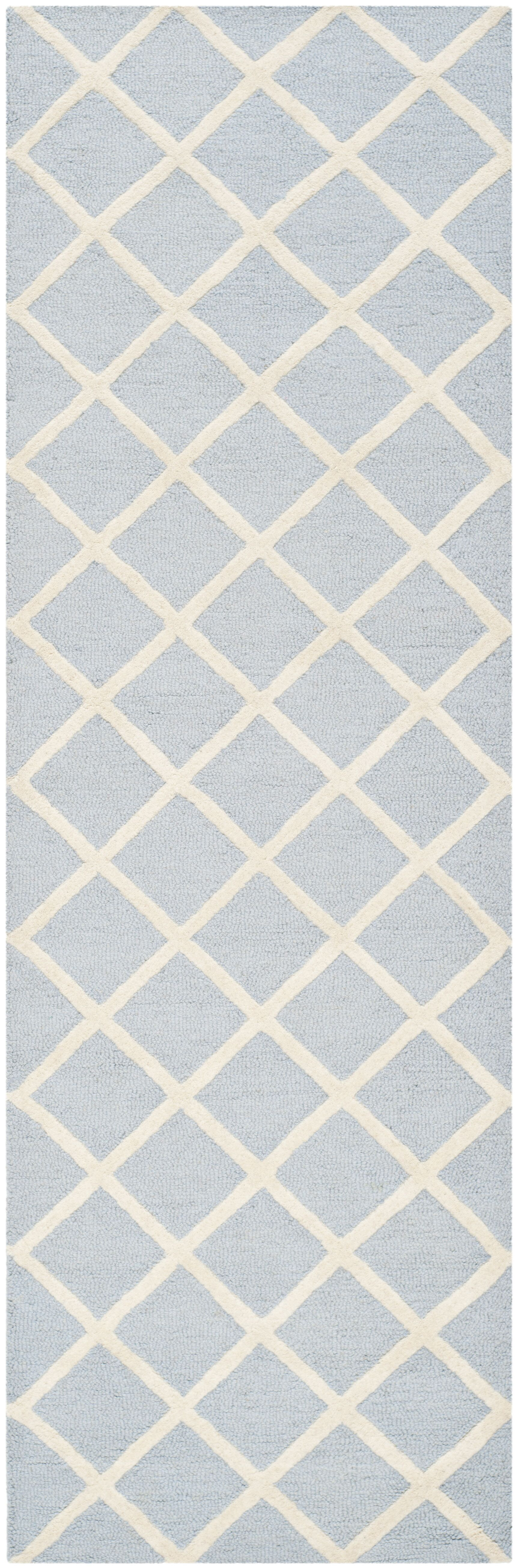Martins Hand-Tufted Wool Gray/Ivory Area Rug Rug Size: Runner 2'6