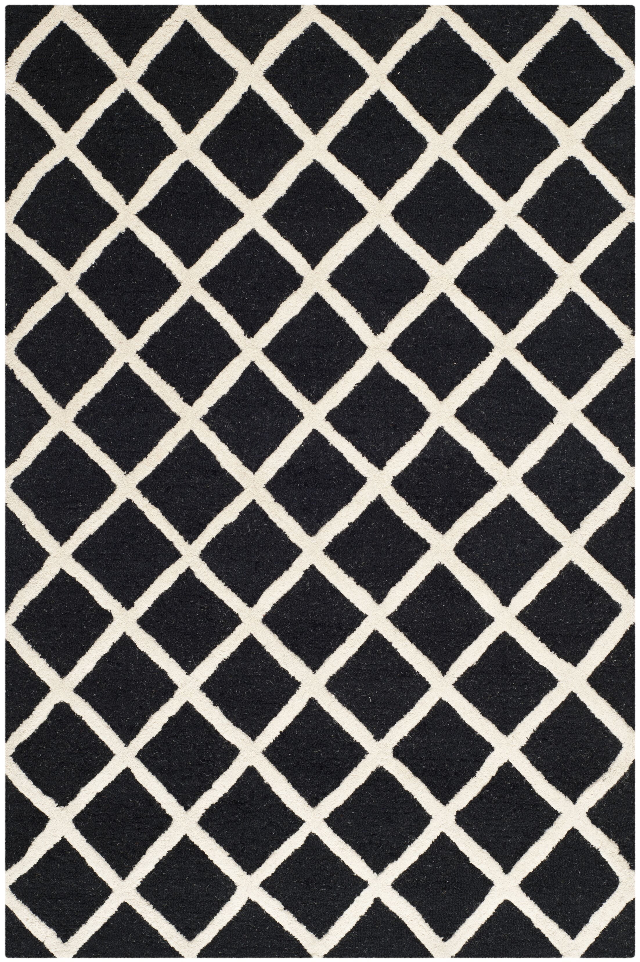 Darla Hand-Tufted Wool Black/White Area Rug Rug Size: Rectangle 4' x 6'