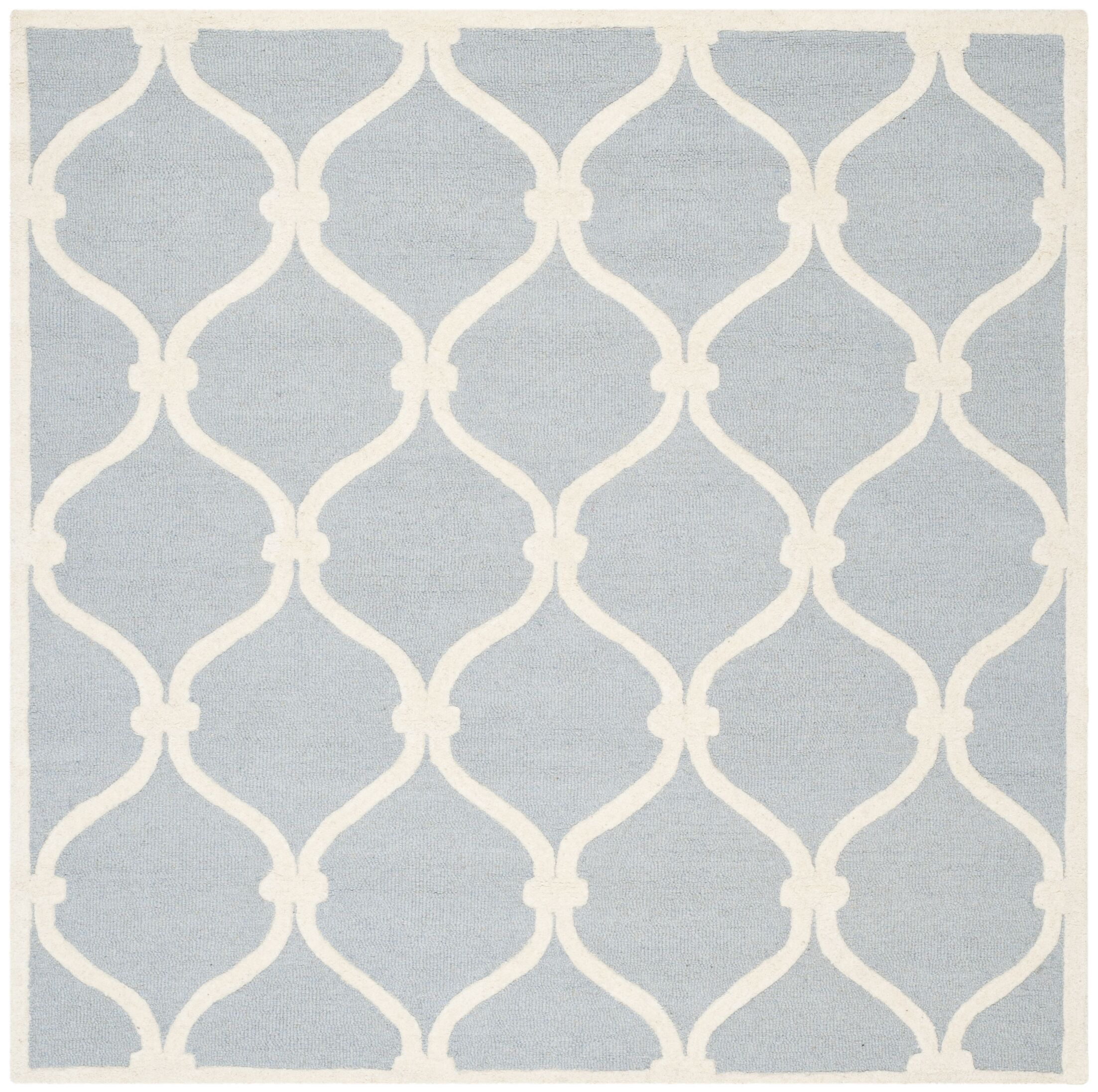 Martins Hand-Tufted Wool Blue Area Rug Rug Size: Square 6'