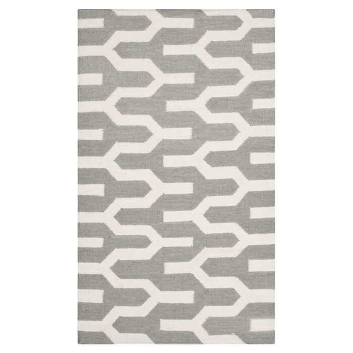 Dhurries Hand-Woven Wool Gray/Ivory Area Rug Rug Size: Rectangle 3' x 5'