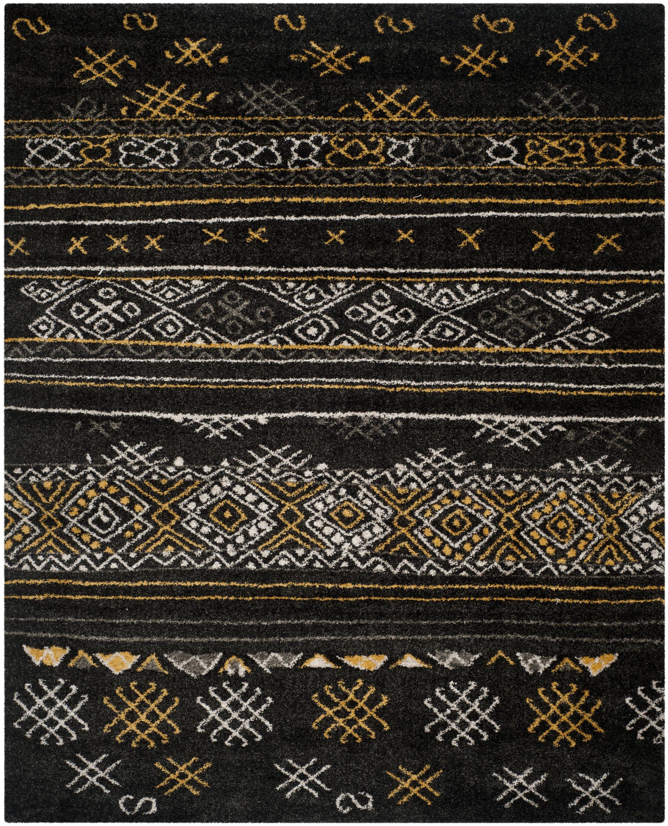 Tibetan Black/Gold Rug Rug Size: Rectangle 8' x 10'