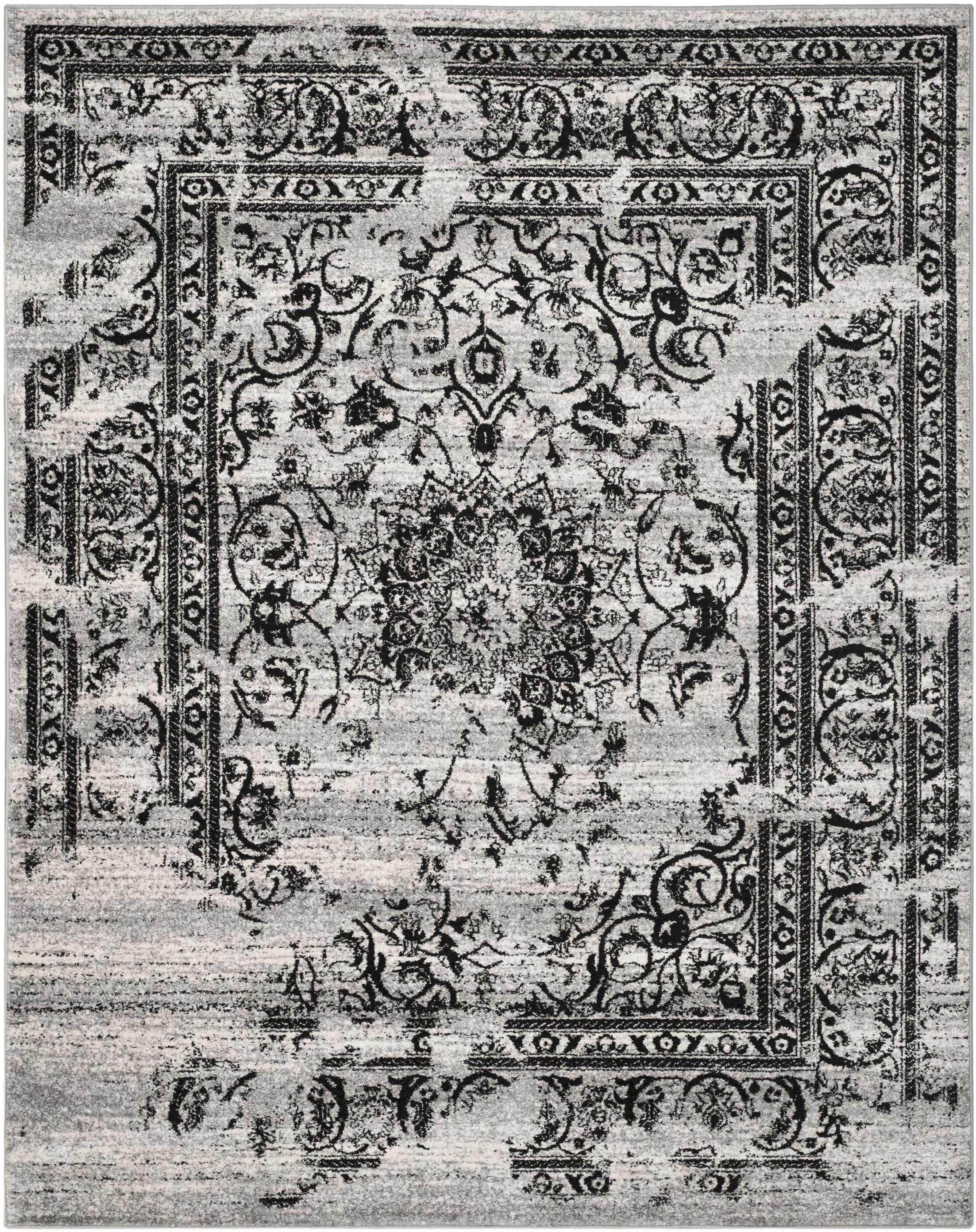 Mccree Mesa Silver/Black Area Rug Rug Size: Rectangle 8' x 10'