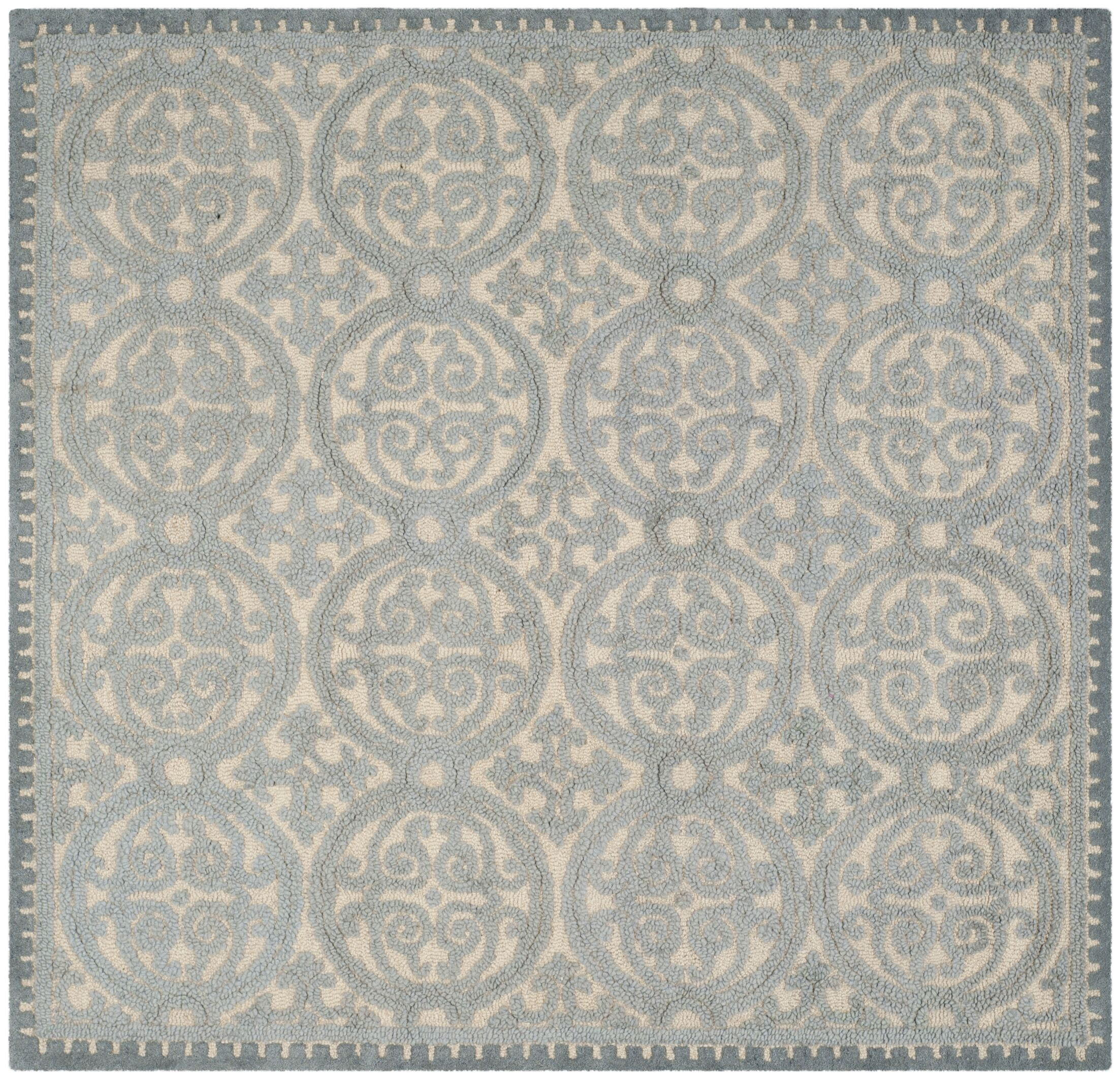 Cambridge Dusty Hand-Tufted Blue/Cement Area Rug Rug Size: Square 10'