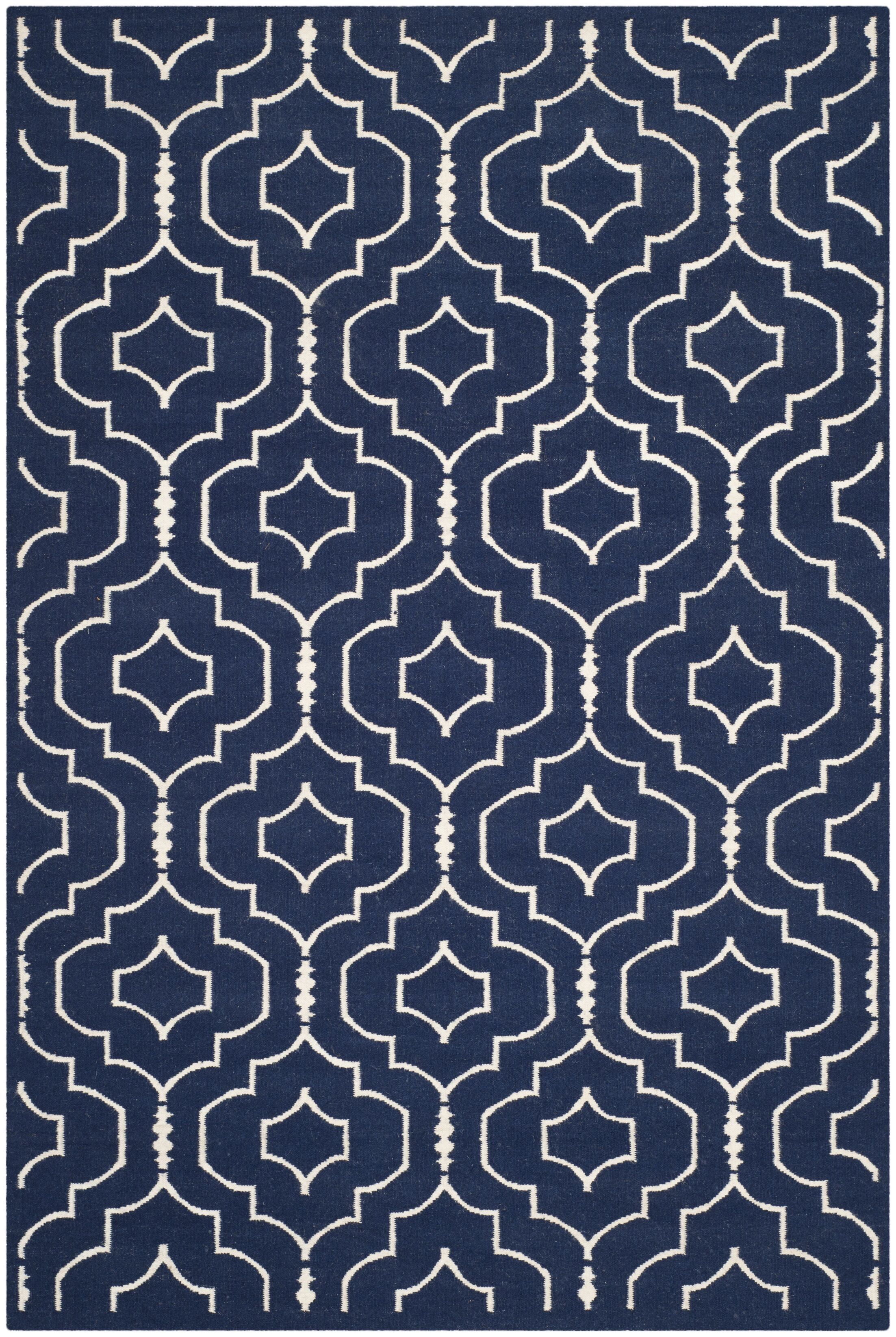 Dhurries Navy / Ivory Geometric Area Rug Rug Size: Rectangle 6' x 9'