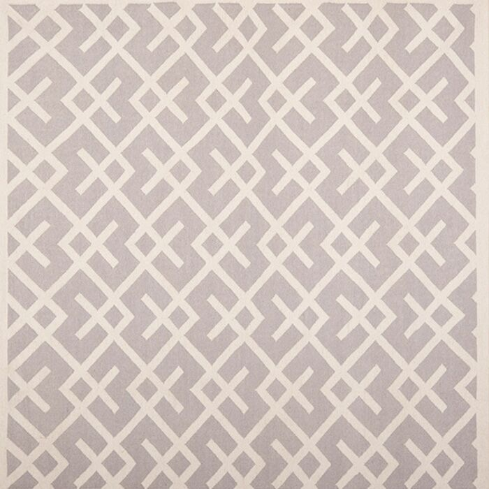 Dhurries Hand-Woven Wool Gray/Ivory Area Rug Rug Size: Rectangle 8' x 8'