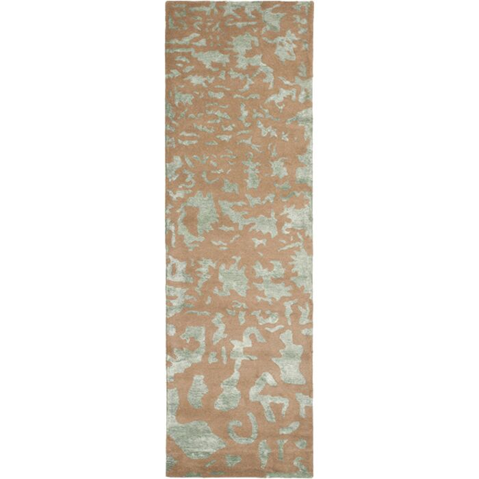 Soho Hand-Tufted Wool Taupe/Light Blue Area Rug Rug Size: Runner 2'6