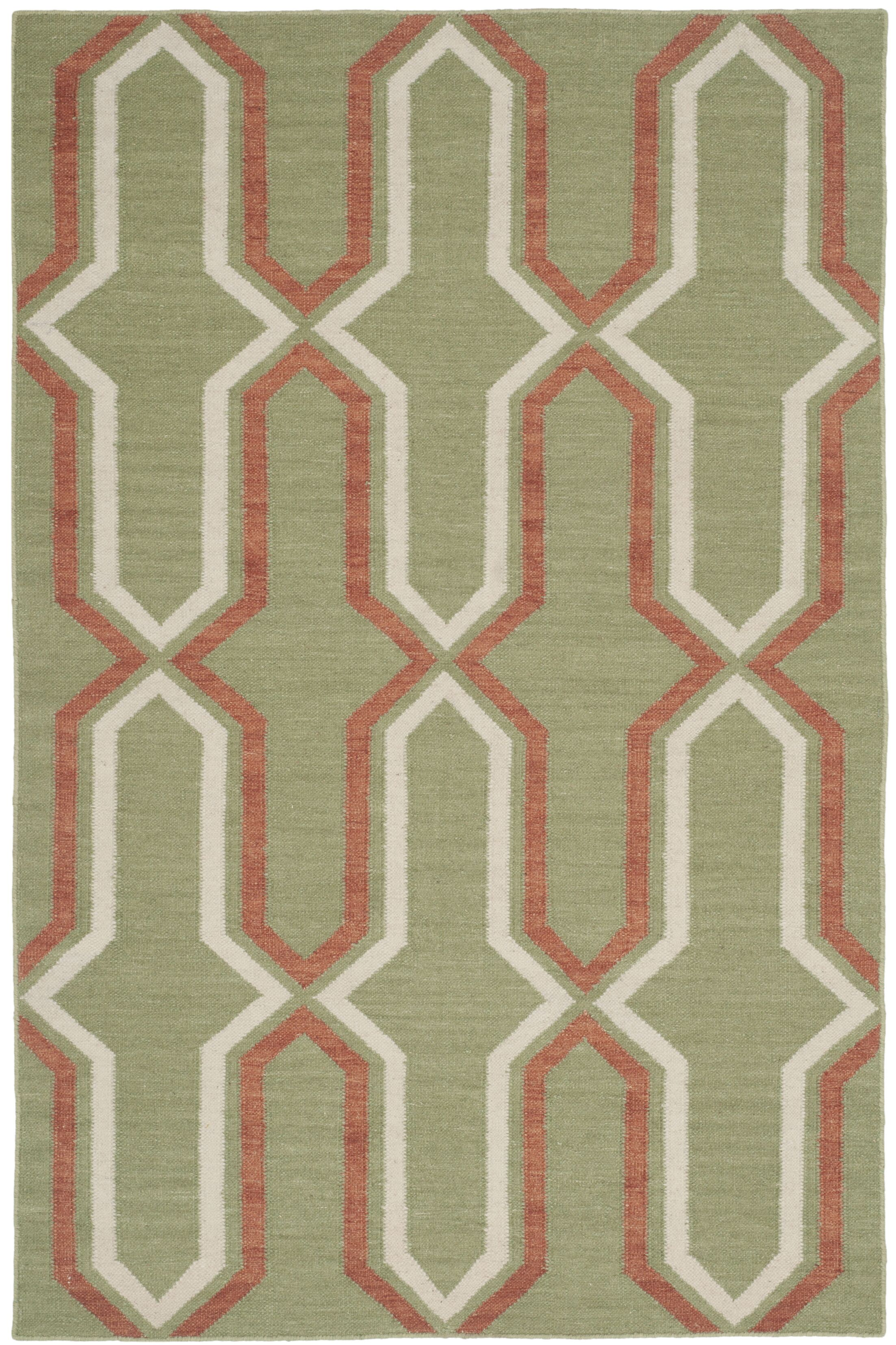 Dhurries Hand-Woven Green/Orange Contemporary Area Rug Rug Size: Rectangle 6' x 9'