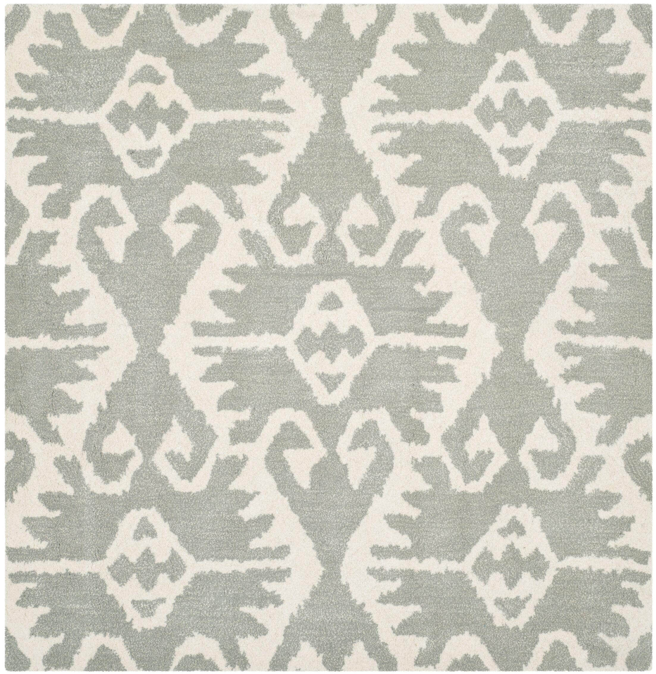 Kouerga Gray/Ivory Area Rug Rug Size: Square 5'