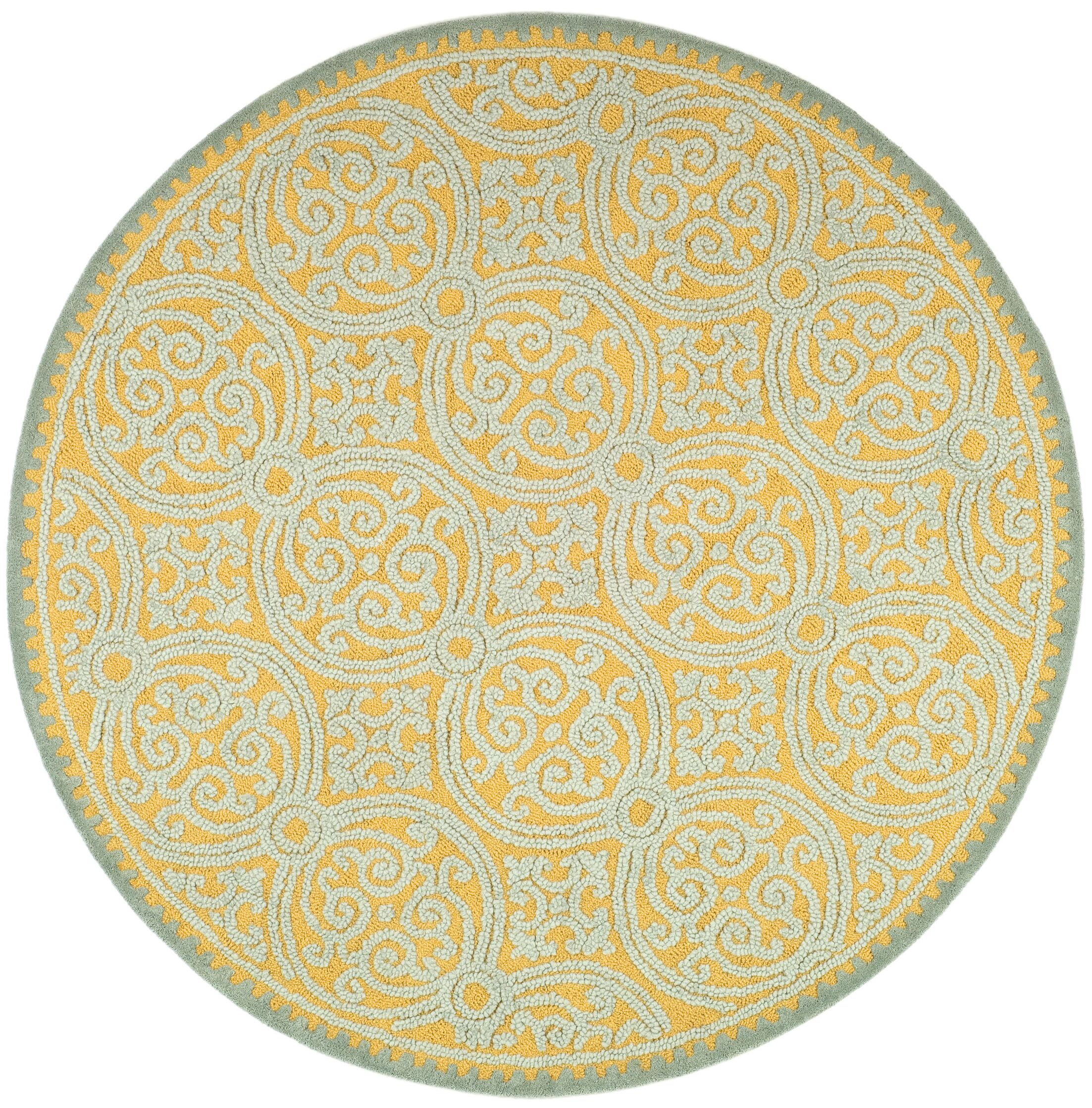 Charlenne Hand-Tufted Blue/Gold Area Rug Rug Size: Round 4'
