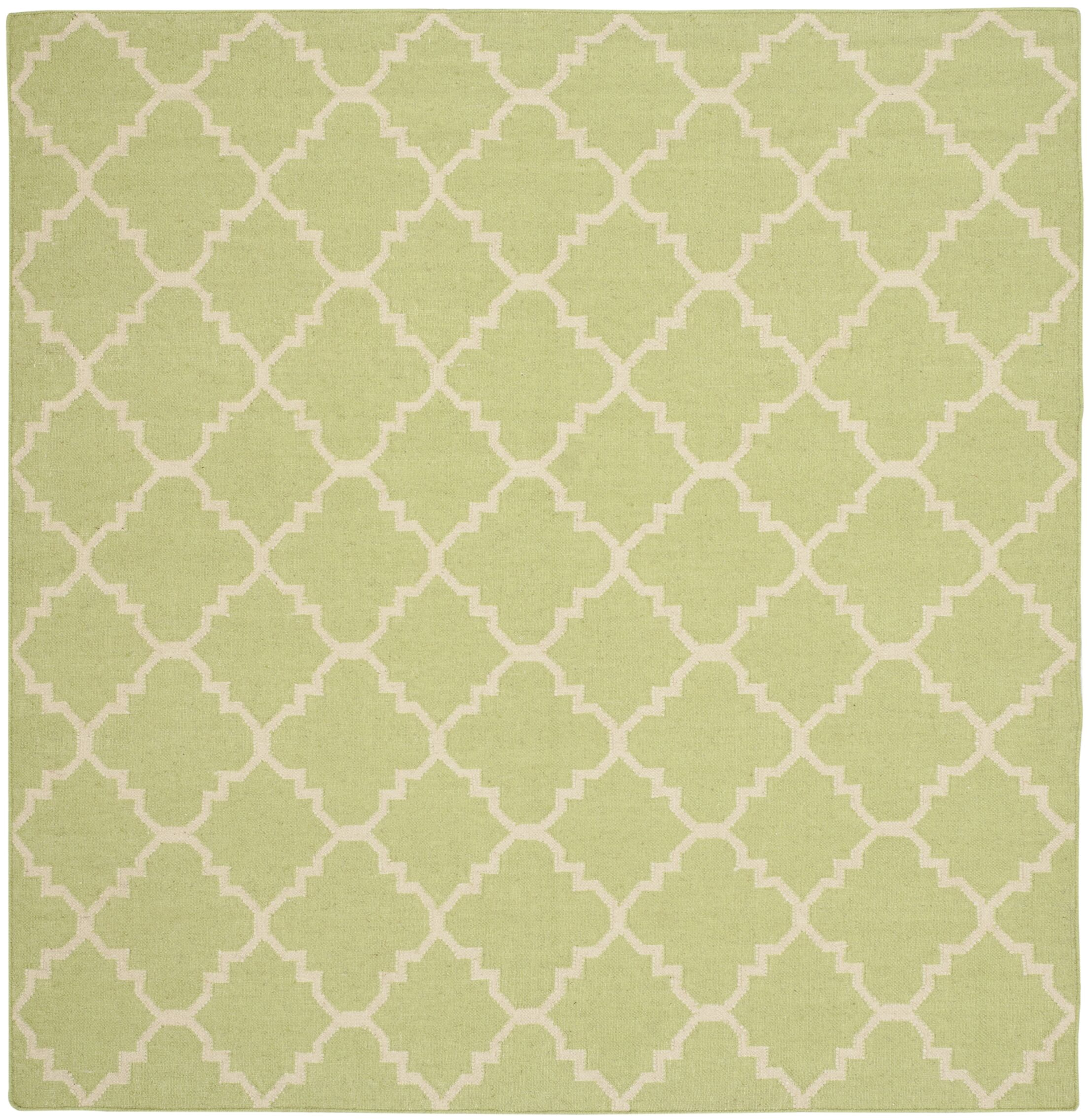 Hand-Woven Light Green/Ivory Area Rug Rug Size: Square 8'