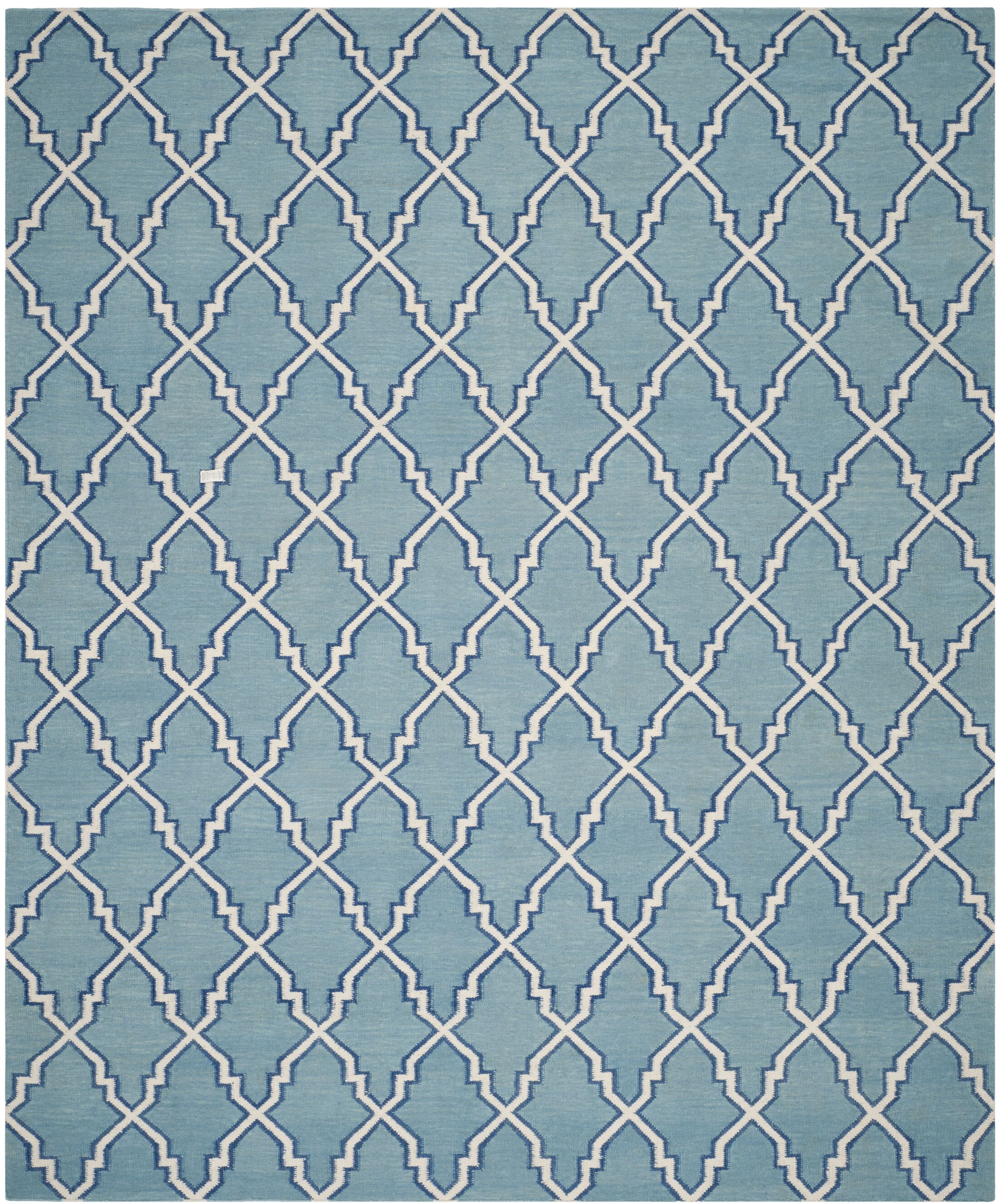 Dhurries Hand-Woven Wool Light Blue/Ivory Area Rug Rug Size: Rectangle 8' x 10'