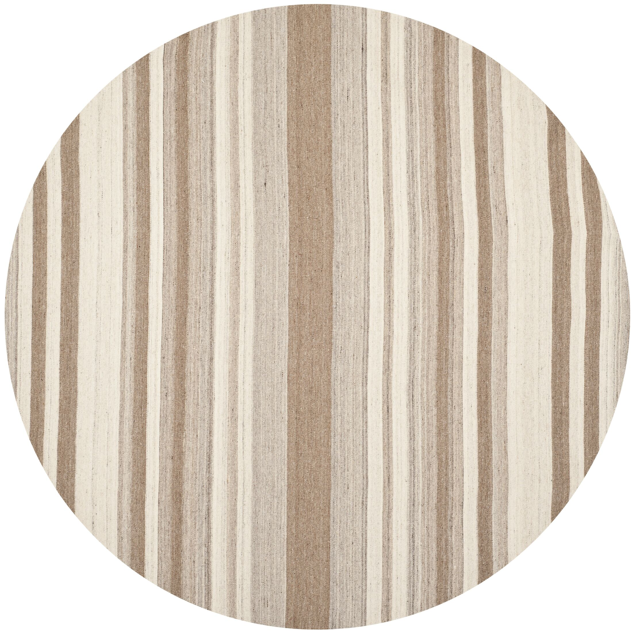 Dhurries Wool Natural/Camel Area Rug Rug Size: Round 7'