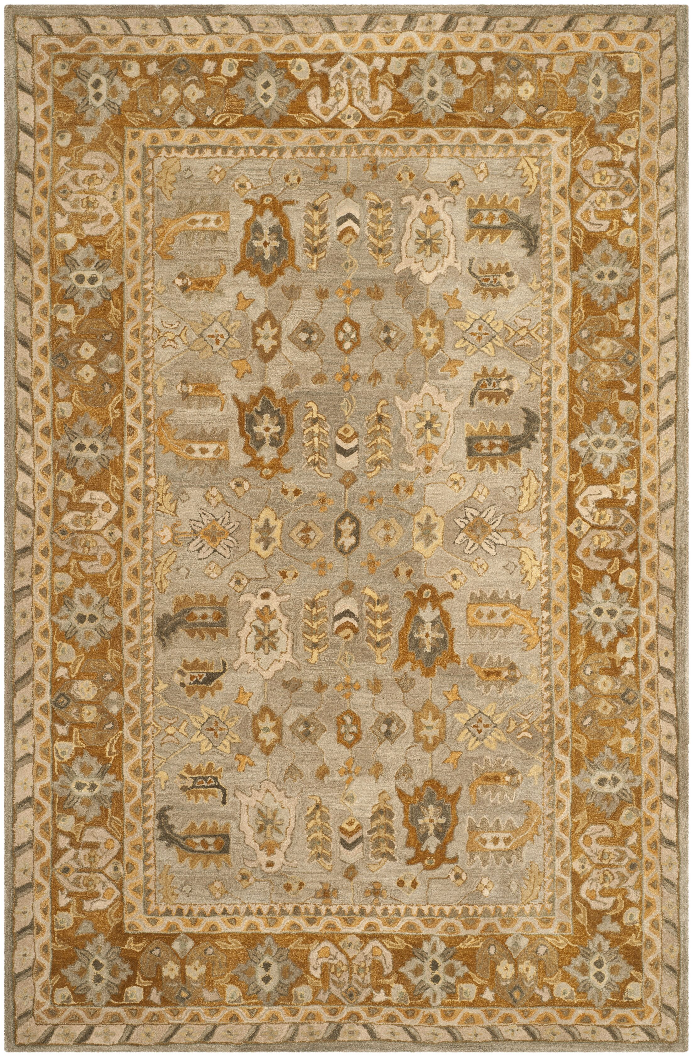 Anatolia Light Grey/Gold Area Rug Rug Size: Runner 2'3