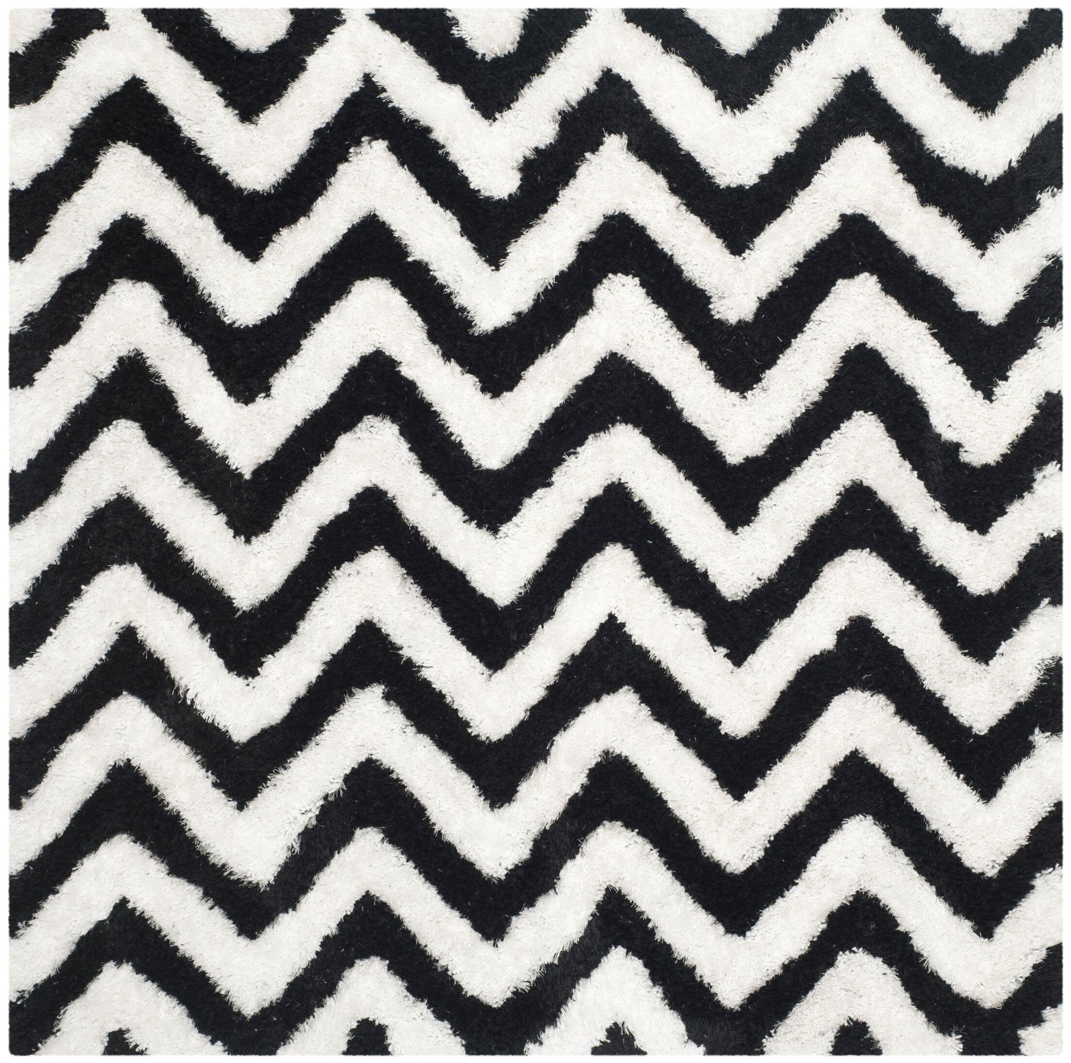 Barcelona Shag Hand-Tufted Cotton Ivory/Black Area Rug Rug Size: Square 5'