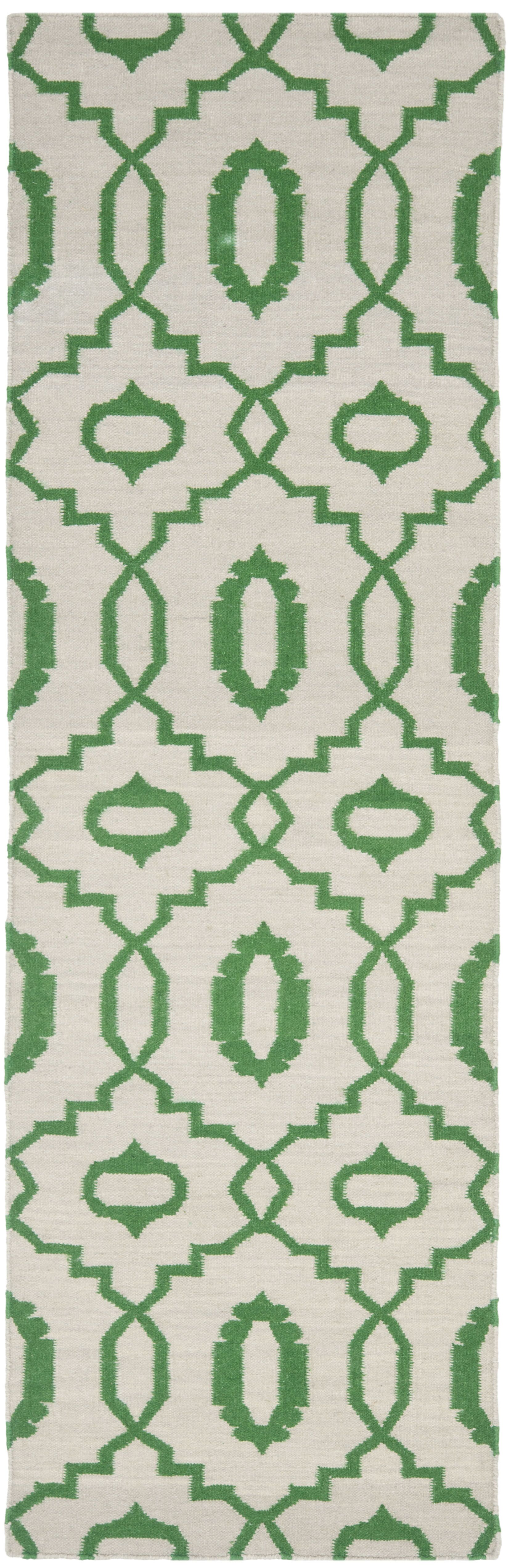 Dhurries Ivory/Green Area Rug Rug Size: Runner 2'6
