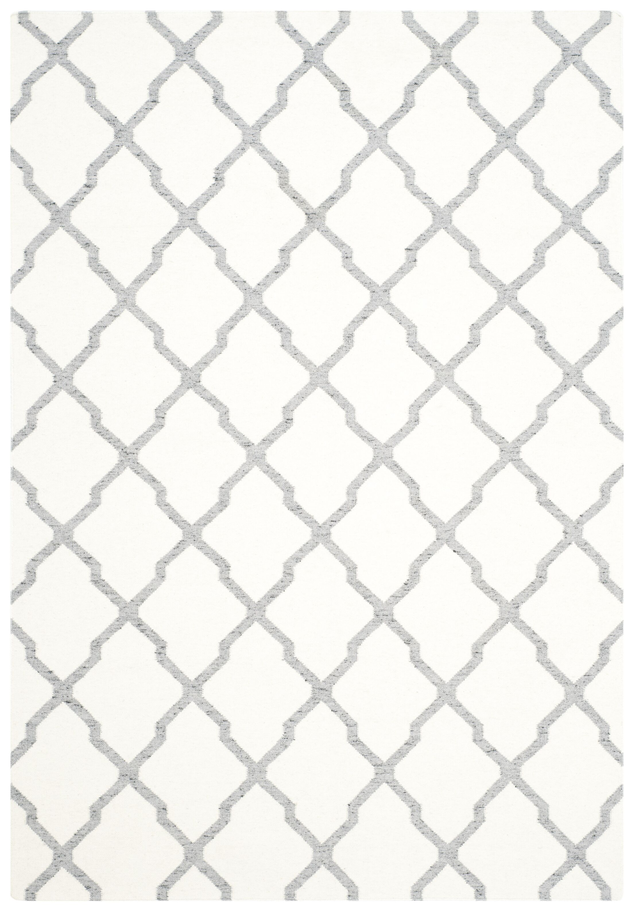 Dhurries Hand Woven Wool Ivory/Grey Area Rug Rug Size: Rectangle 8' x 10'