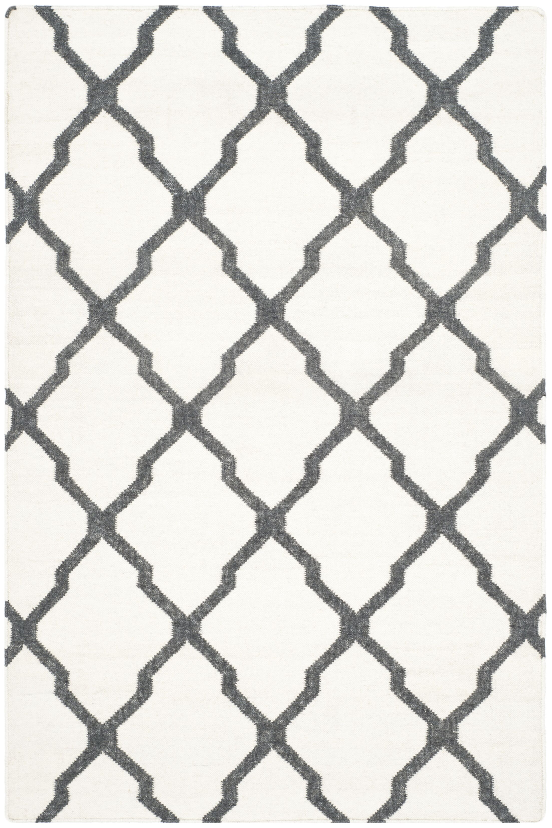 Dhurries Hand-Woven Wool Ivory/Charcoal Area Rug Rug Size: Rectangle 6' x 9'