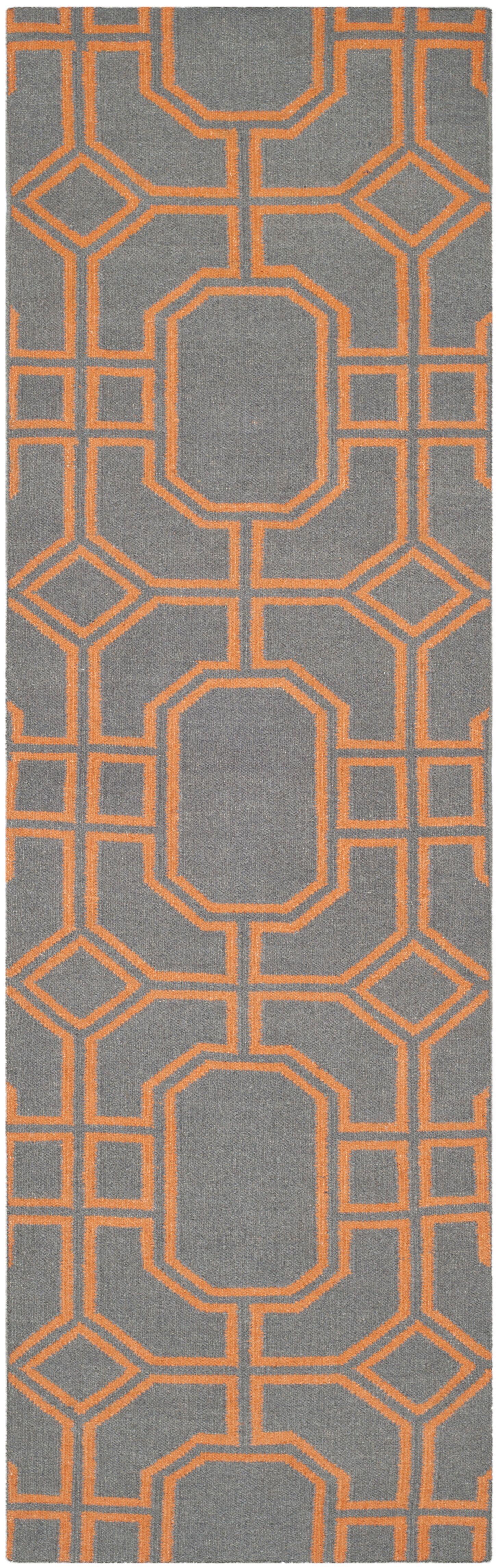 Dhurries Hand-Woven Wool Gray/Orange Area Rug Rug Size: Runner 2'6