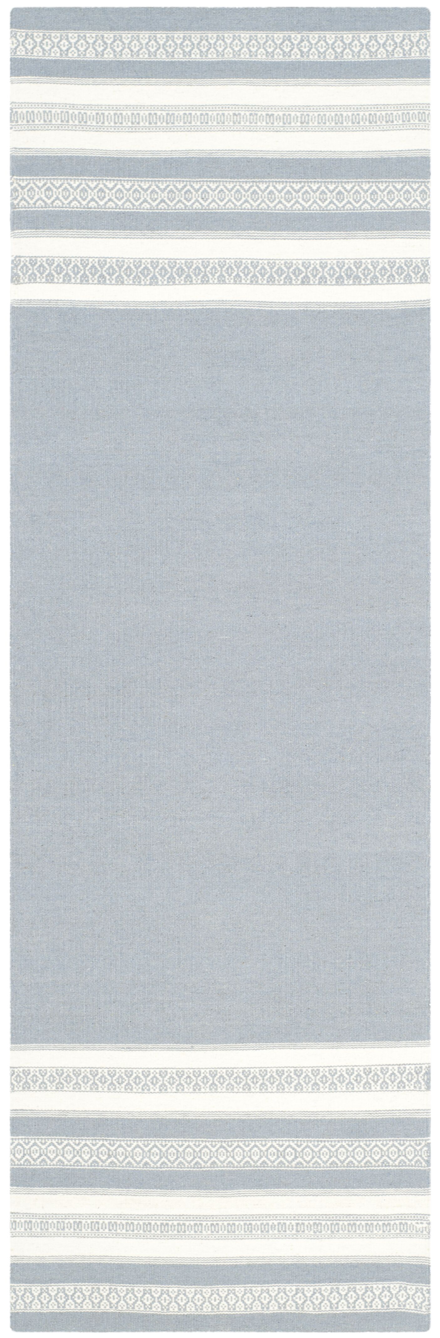 Dhurries Hand Woven Cotton Gray Area Rug Rug Size: Runner 2'6