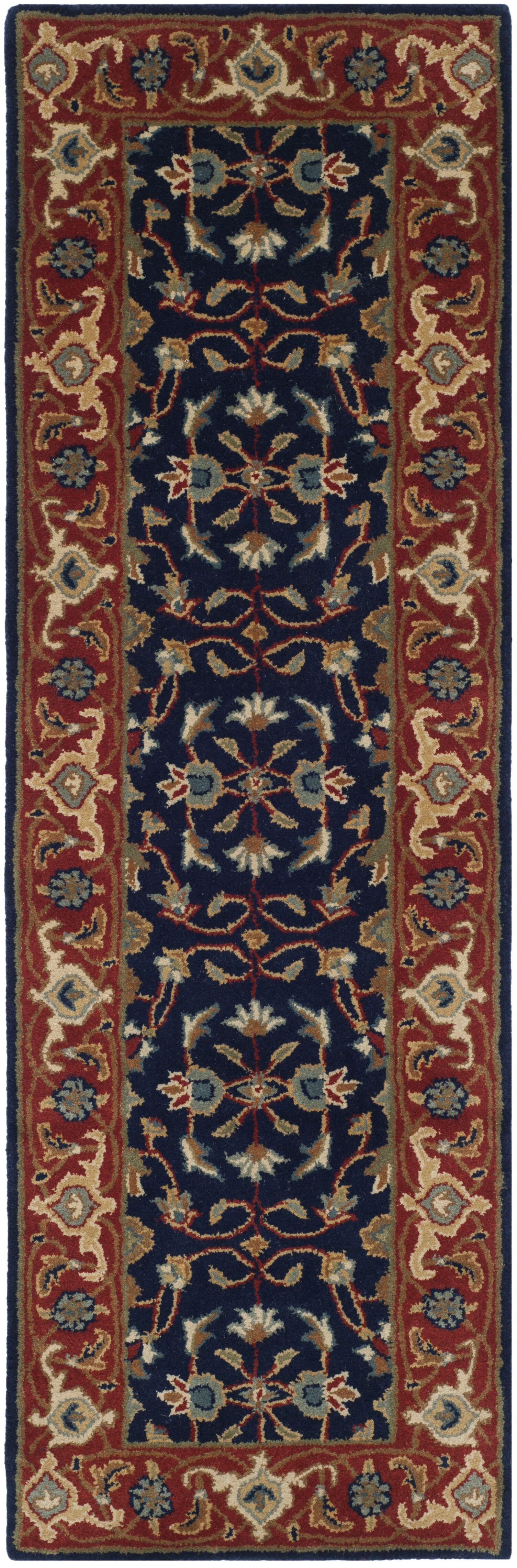 Royalty Navy/Rust Area Rug Rug Size: Runner 2'3