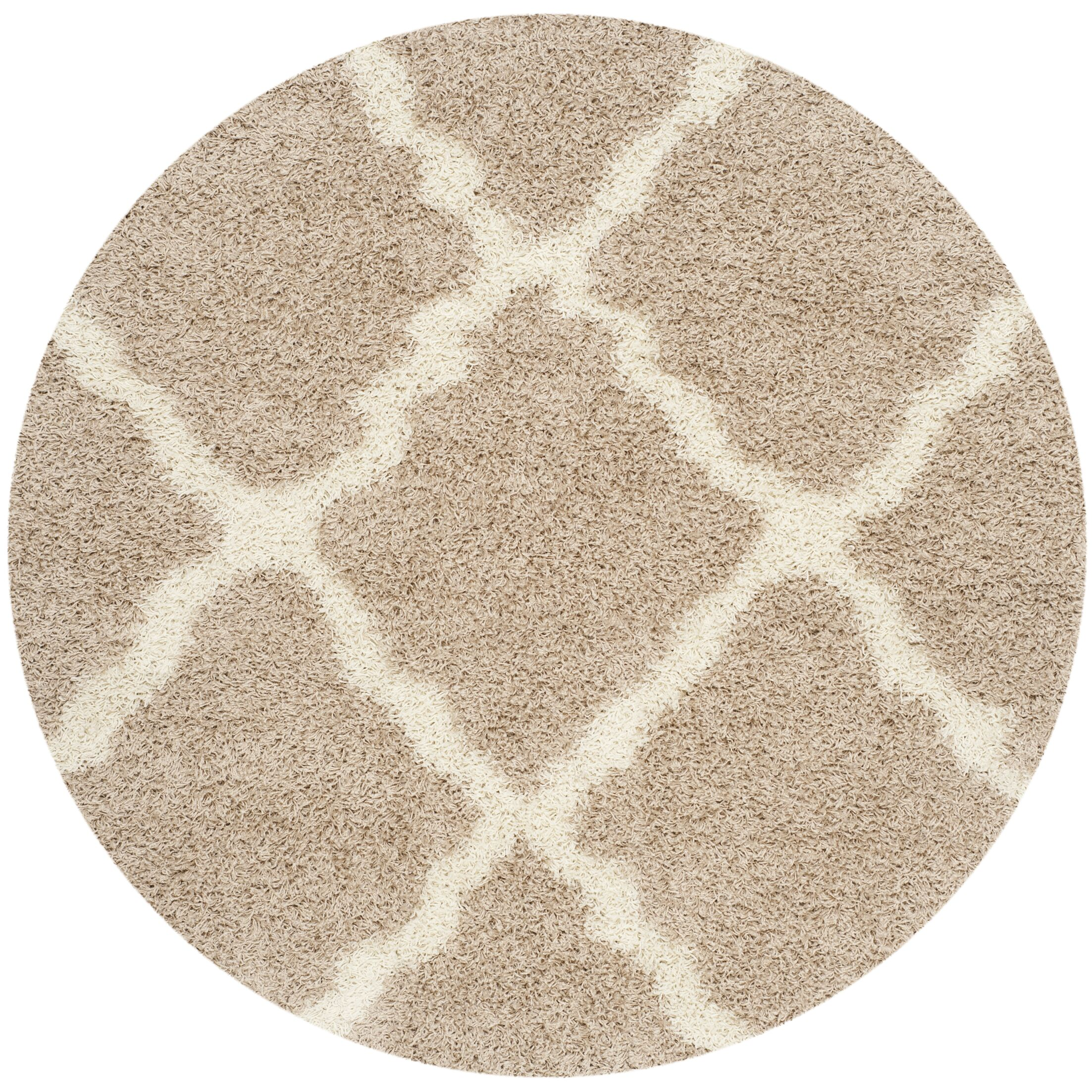 Fickes Beige/Ivory Area Rug Rug Size: Round 6'